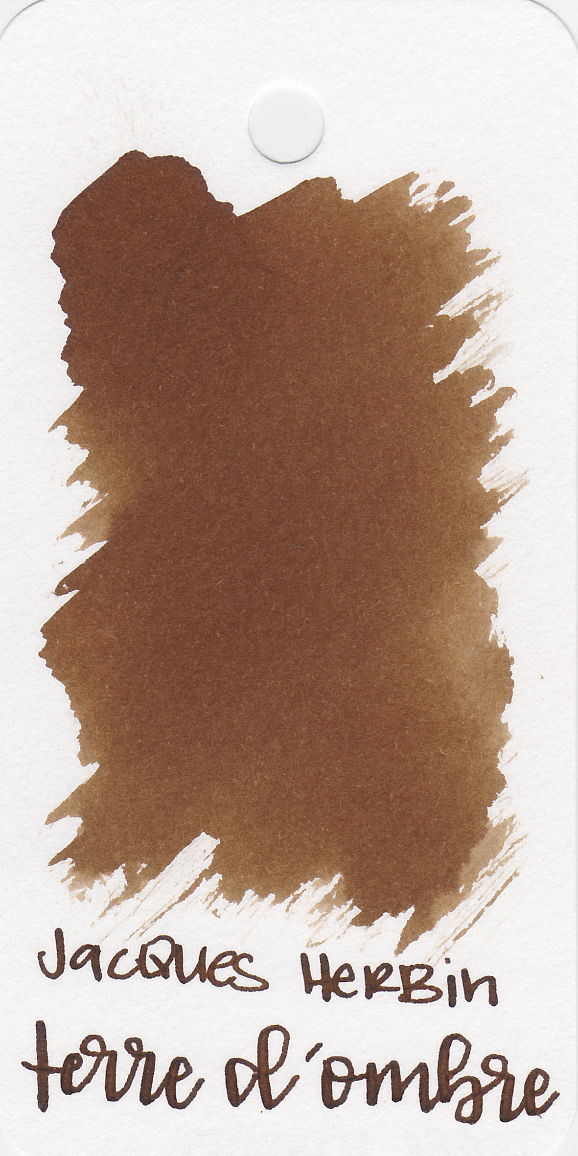 The color: - Terre d'Ombre is a medium brown with a hint of orange.