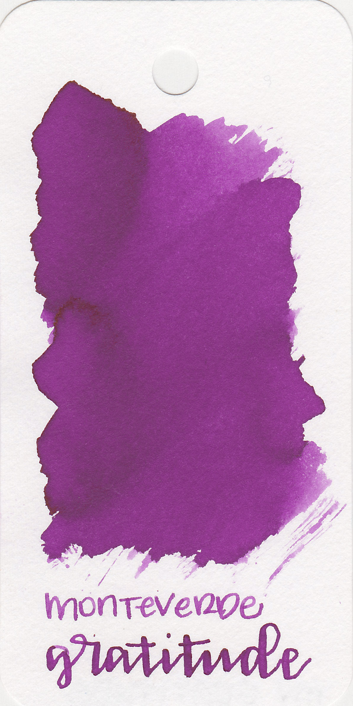 The color: - Gratitude Magenta is a dark magenta, right in-between pink and purple.