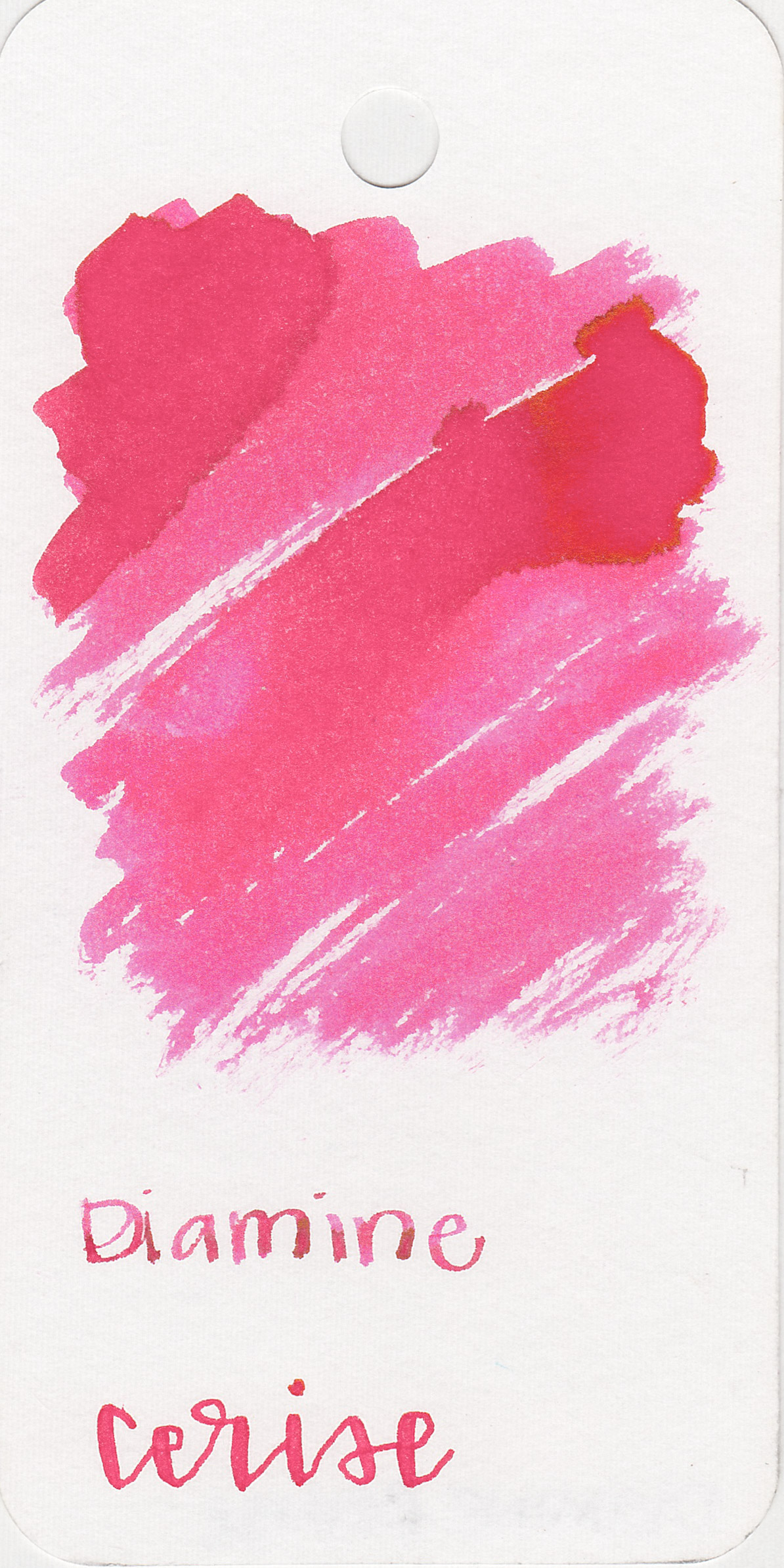 The color: - Cerise is a bright, medium pink.