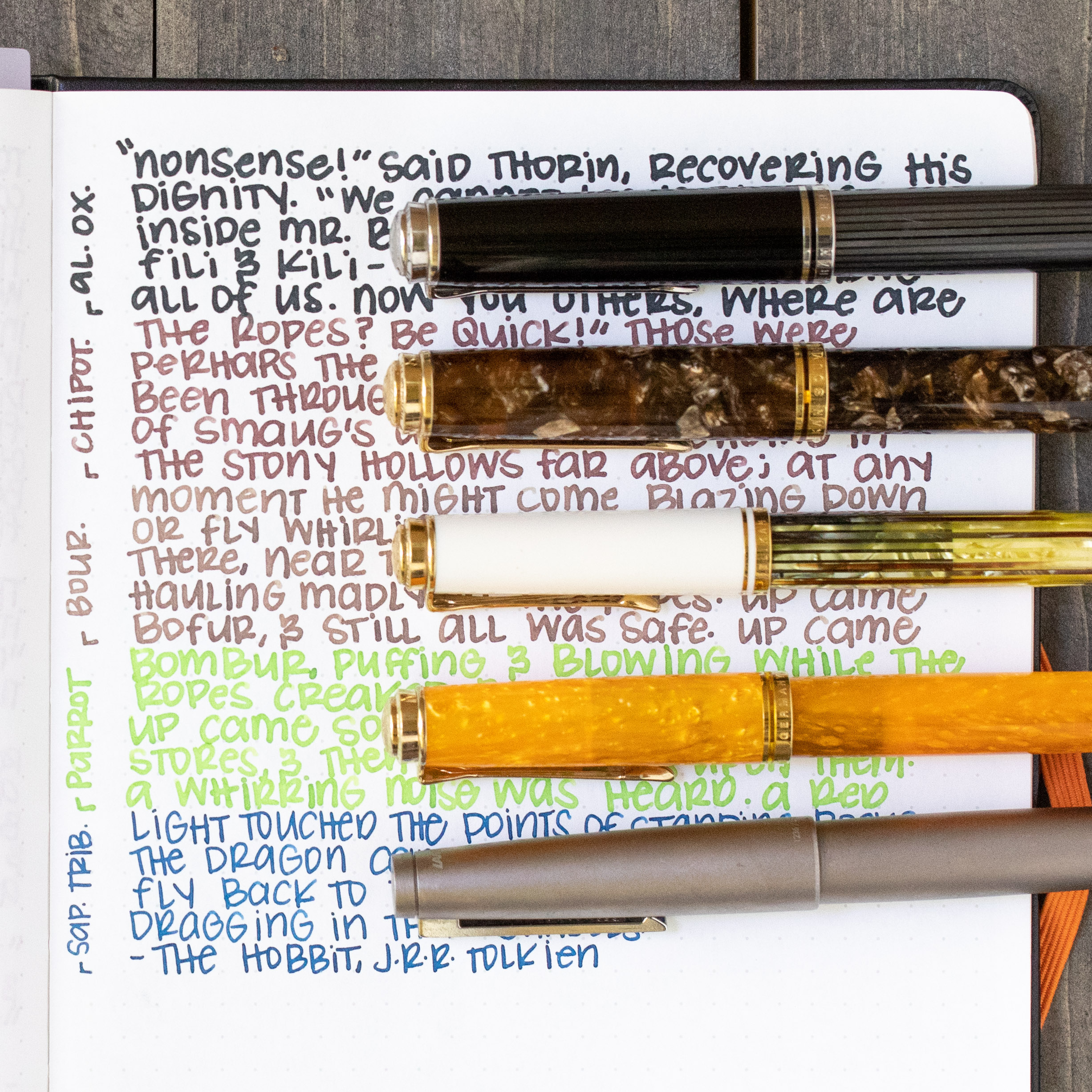 I used a Bond A5 (Tomoe River 68gsm). Top to bottom, I used: Pelikan M805 Stresemann with a medium nib, Pelikan M800 Renaissance Brown with a medium nib, Pelikan M400 White Tortoise with a medium nib, Pelikan M600 Vibrant Orange with a medium nib, and a Lamy 2000 Black Amber with a fine nib. All of the inks had an average flow, but the consistency was a bit thin, almost watery.