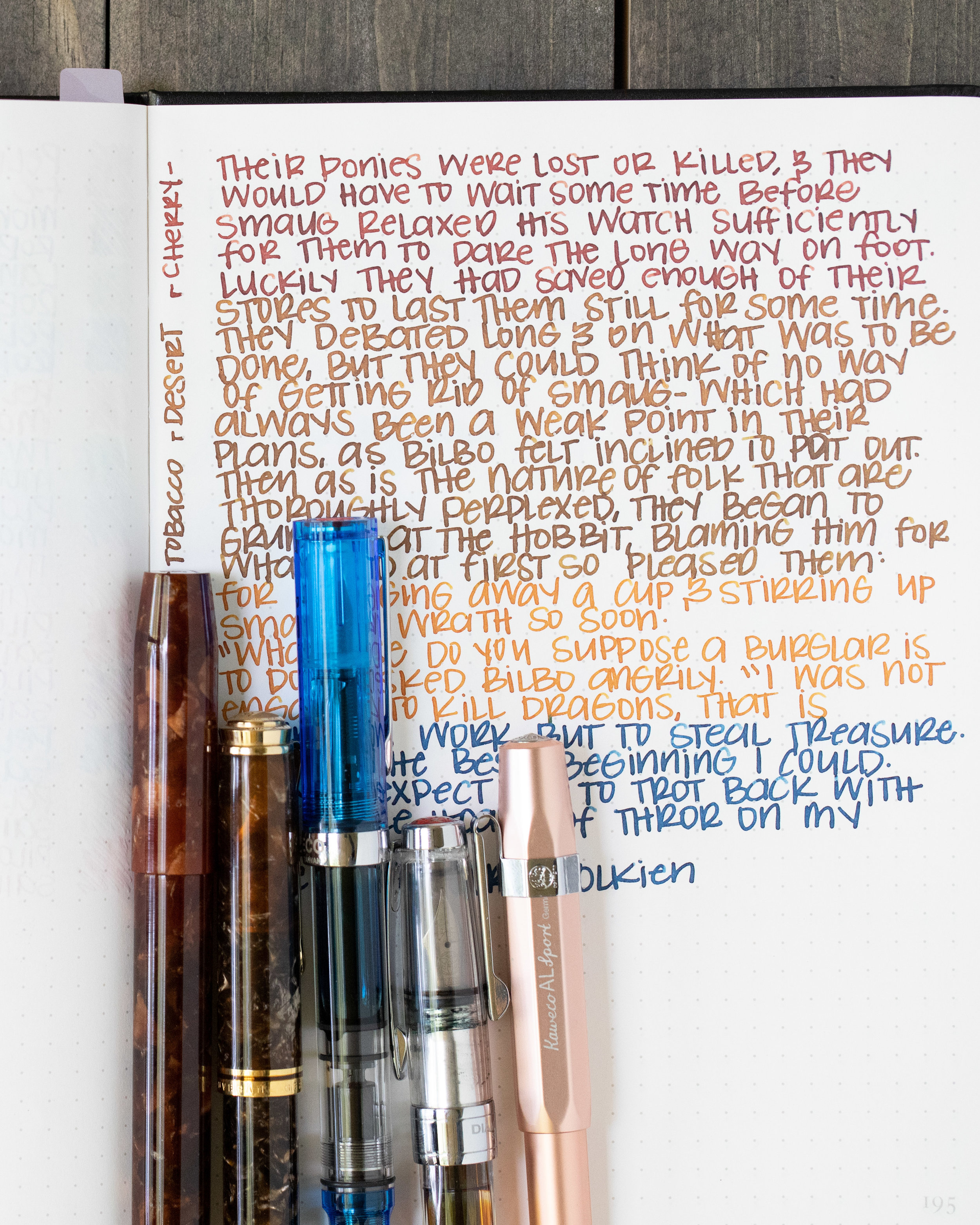 Longer writing: - I used: Franklin-Christoph 46 Autumn Oak with a 14K fine flex nib, a Pelikan M800 Renaissance Brown with a medium nib, a TWSBI Eco Transparent Blue with a medium nib, a TWSBI 580 AL medium nib, and a Kaweco Al-sport Rose Gold with a broad nib on a Bond Travel Gear Notebook. All of the inks had an average flow.