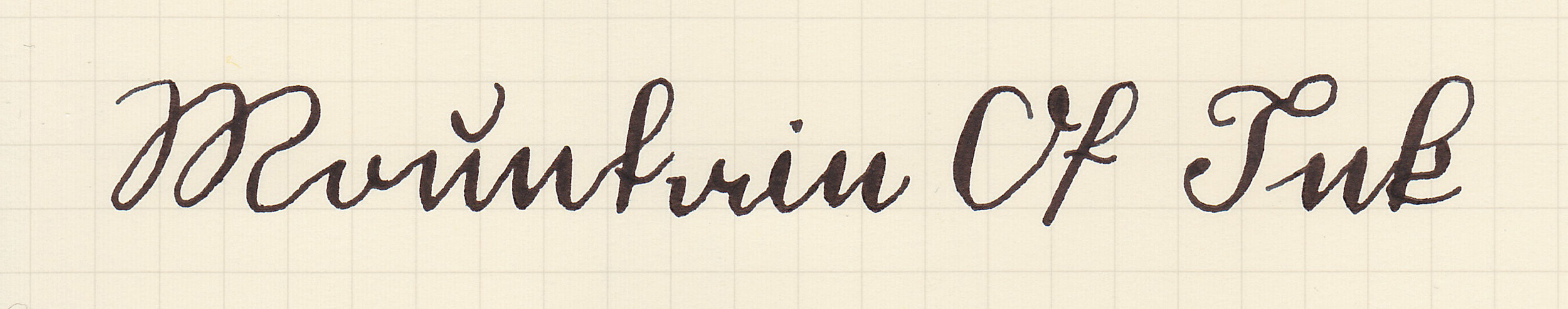 Kurrent, written with a Regalia Writing Labs Crossflex nib.