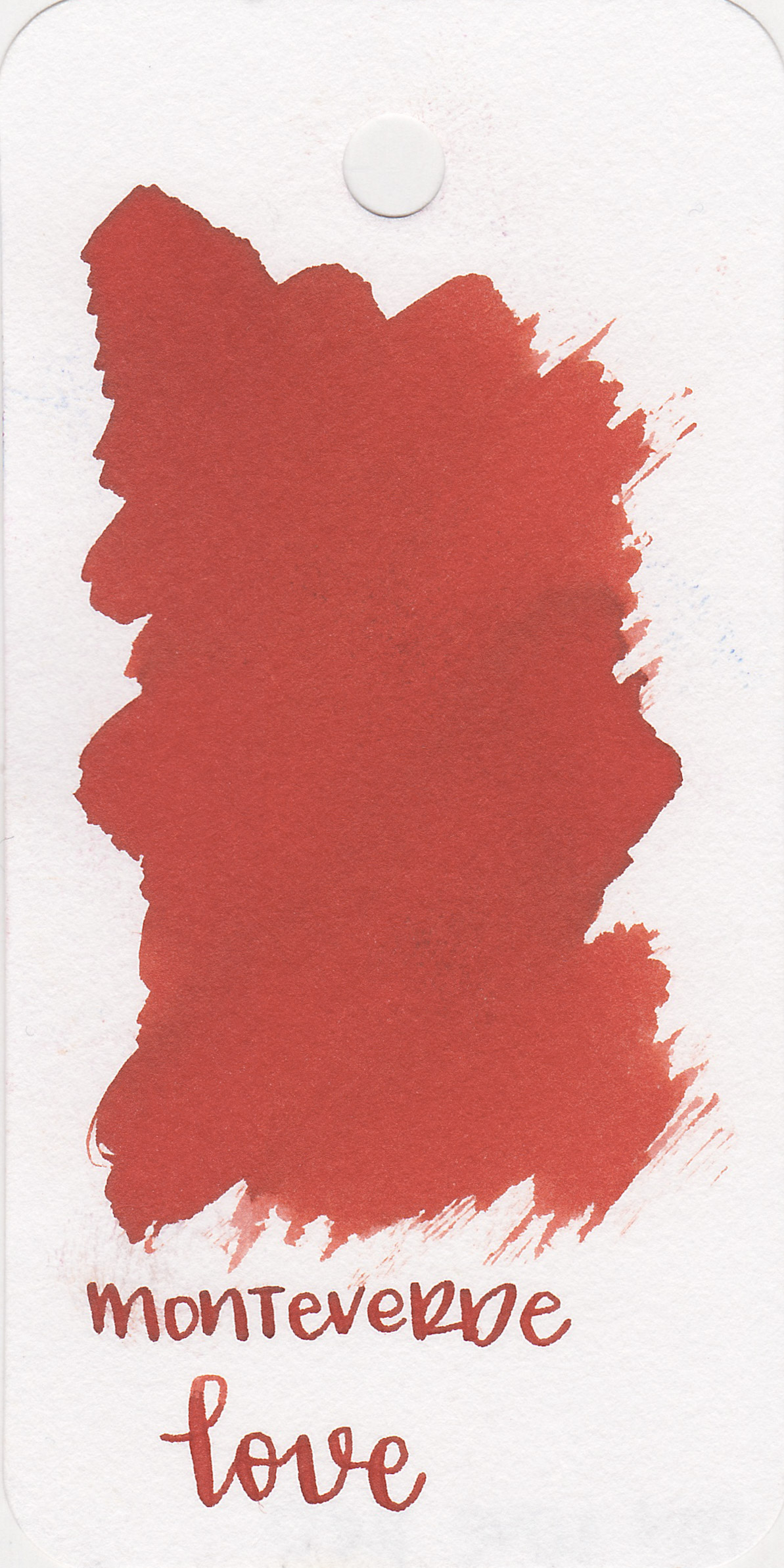The color: - Love is a dark red with an orange undertone.