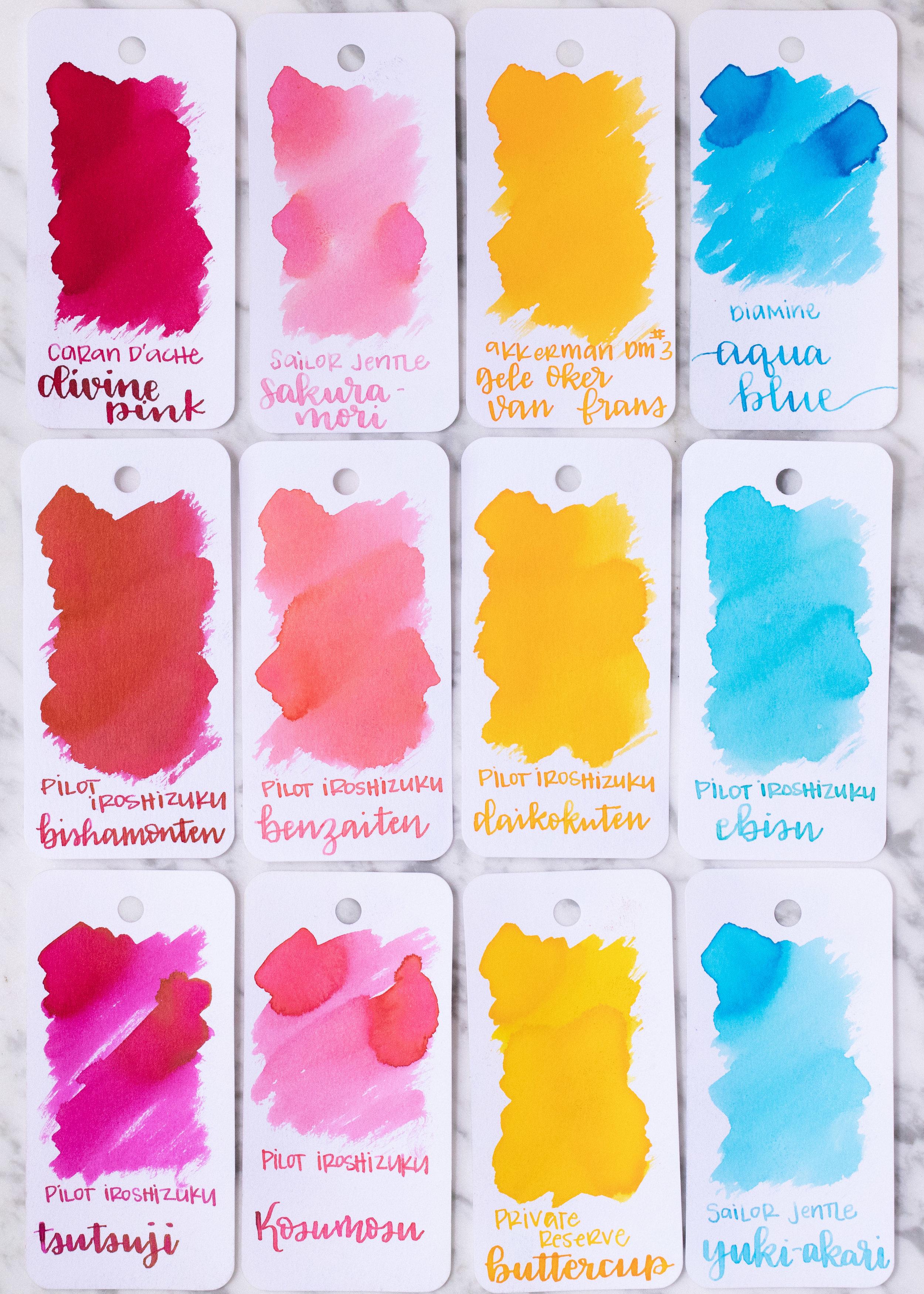 Similar inks: - Bishamonten is closest to Caran D'arche Divine Pink. Benzaiten is much warmer than Kosumosu. Daikokuten is close to Akkerman Gele Oker van Frans. Ebisu is similar to Sailor Jentle Yuki-akari.