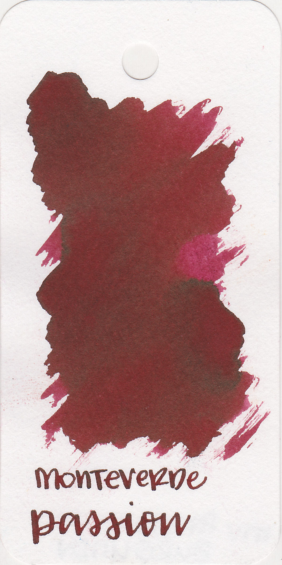 The color: - Passion is a dark burgundy, which can look almost pink in some instances.