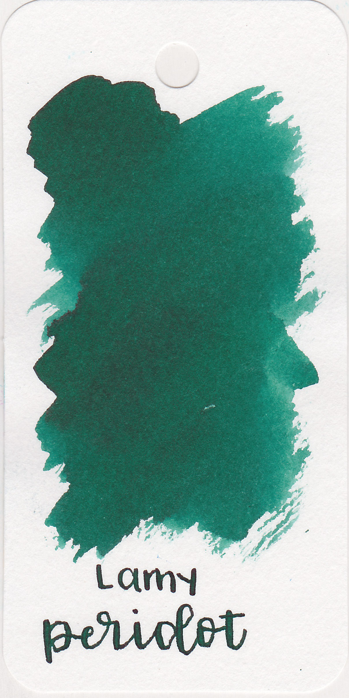 The color: - Peridot is a dark green ink with a little bit of sheen.