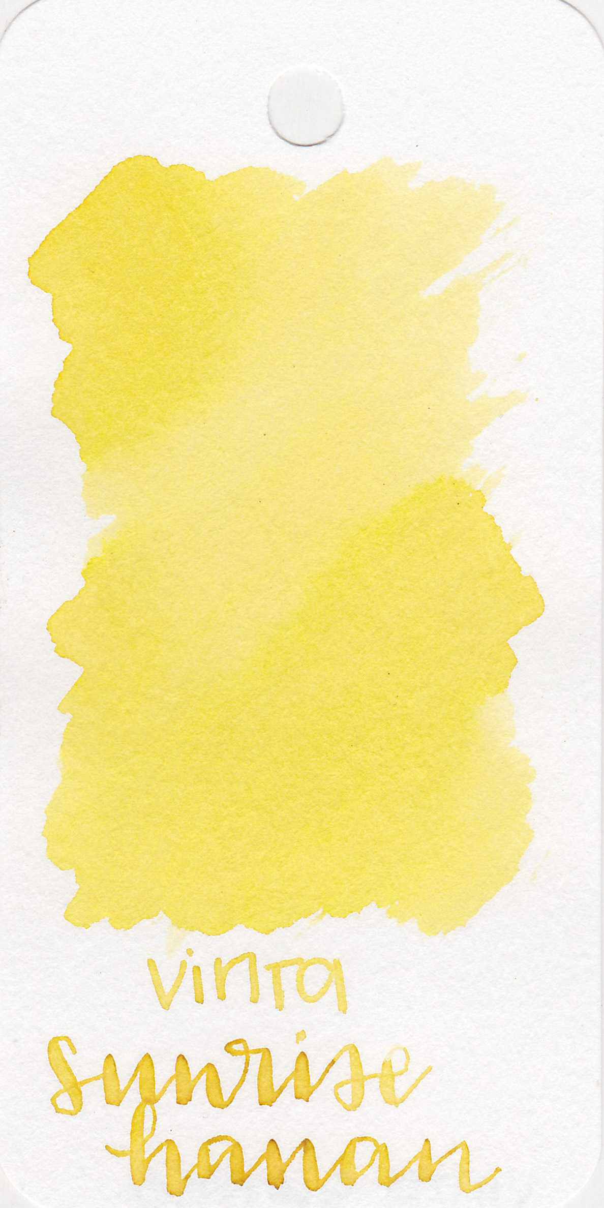 The color: - Sunrise Hanan is a cute pastel yellow, the first true pastel yellow I have found. This ink is very pale, and actually looks a bit green when wet.