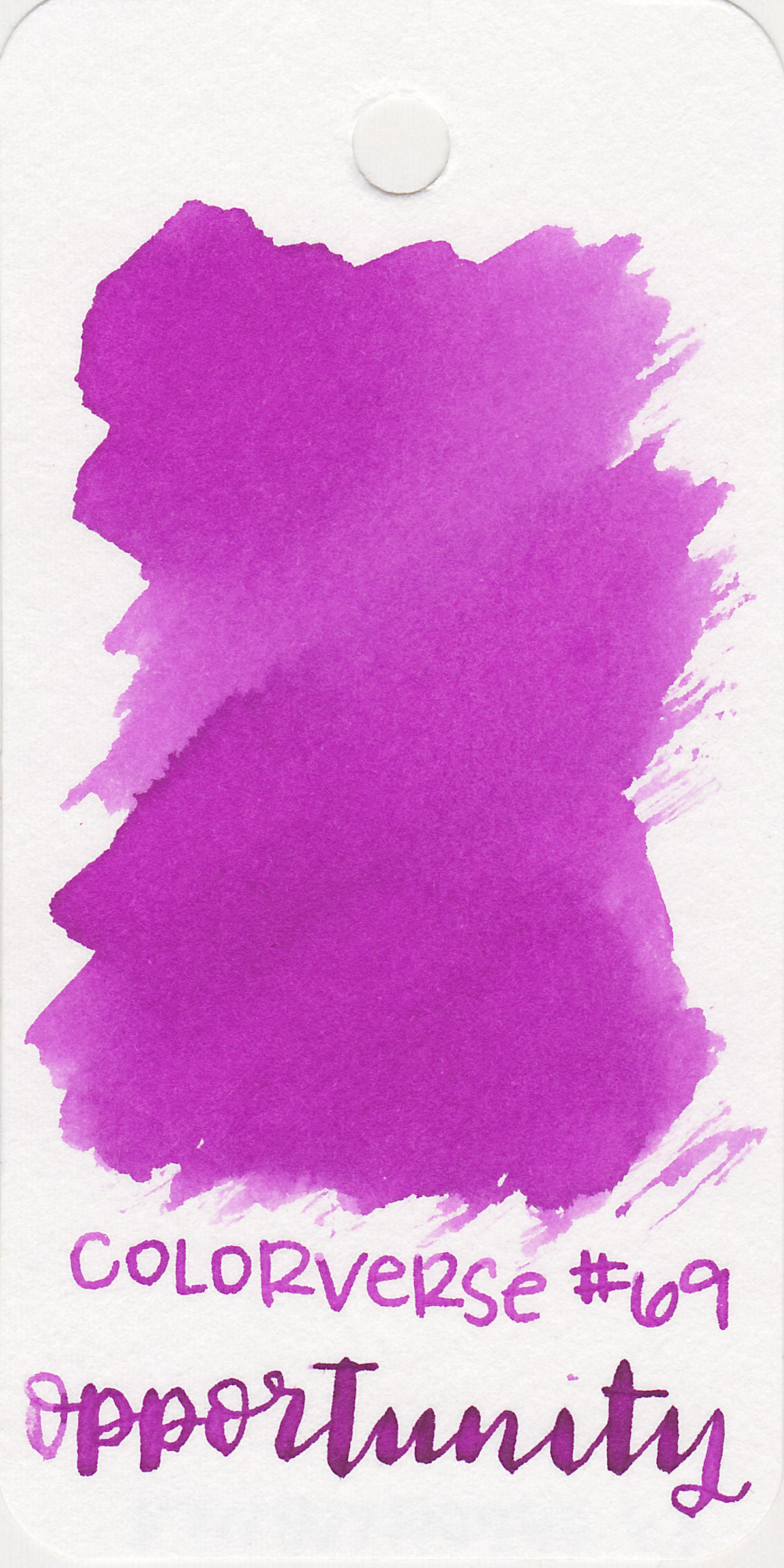 The color: - Opportunity is a bright magenta purple with a little bit of shading.