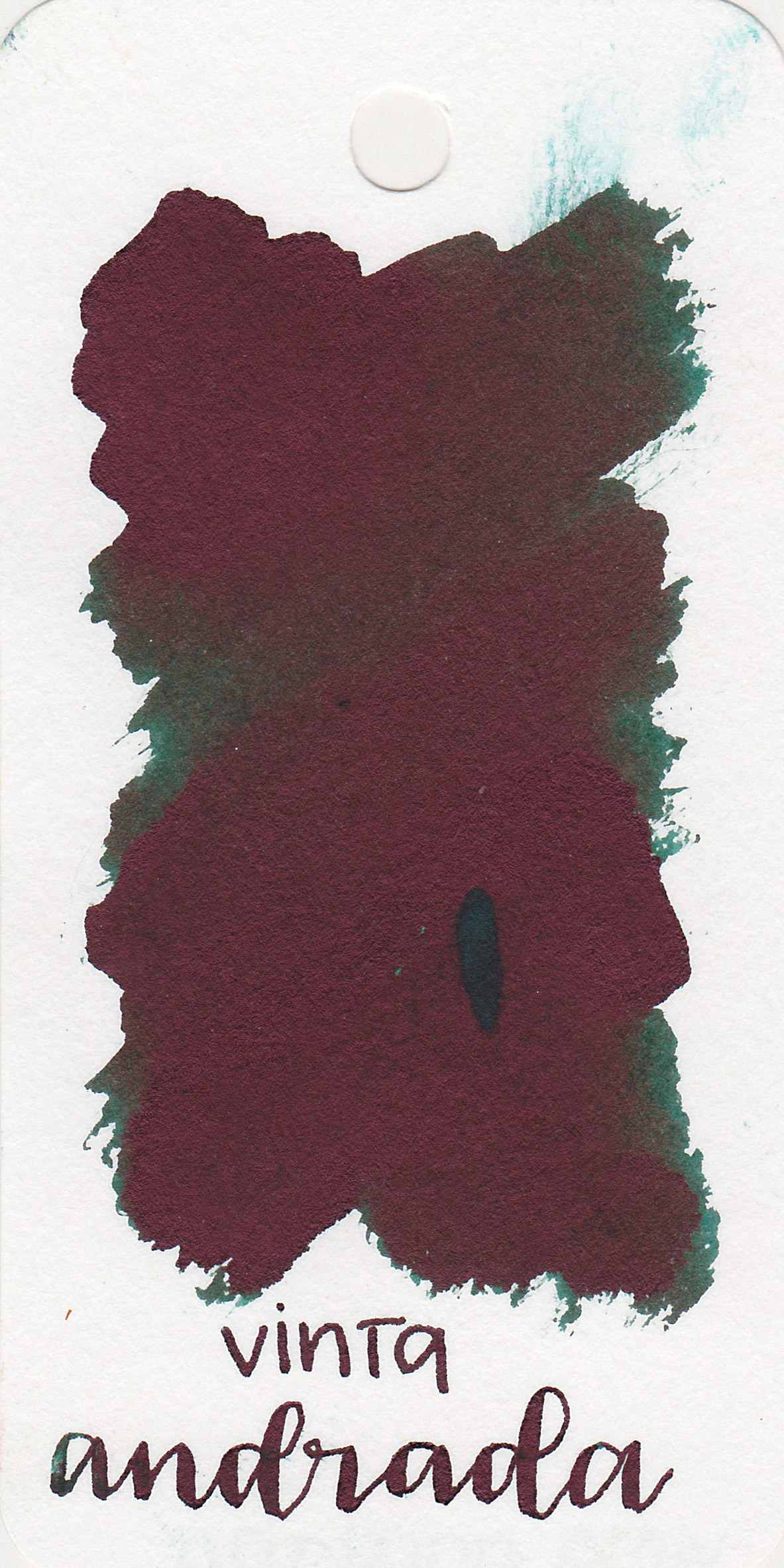 The color: - I don't know why this ink is called Teal Andrada because it's a dark forest green with dark red sheen, not teal.