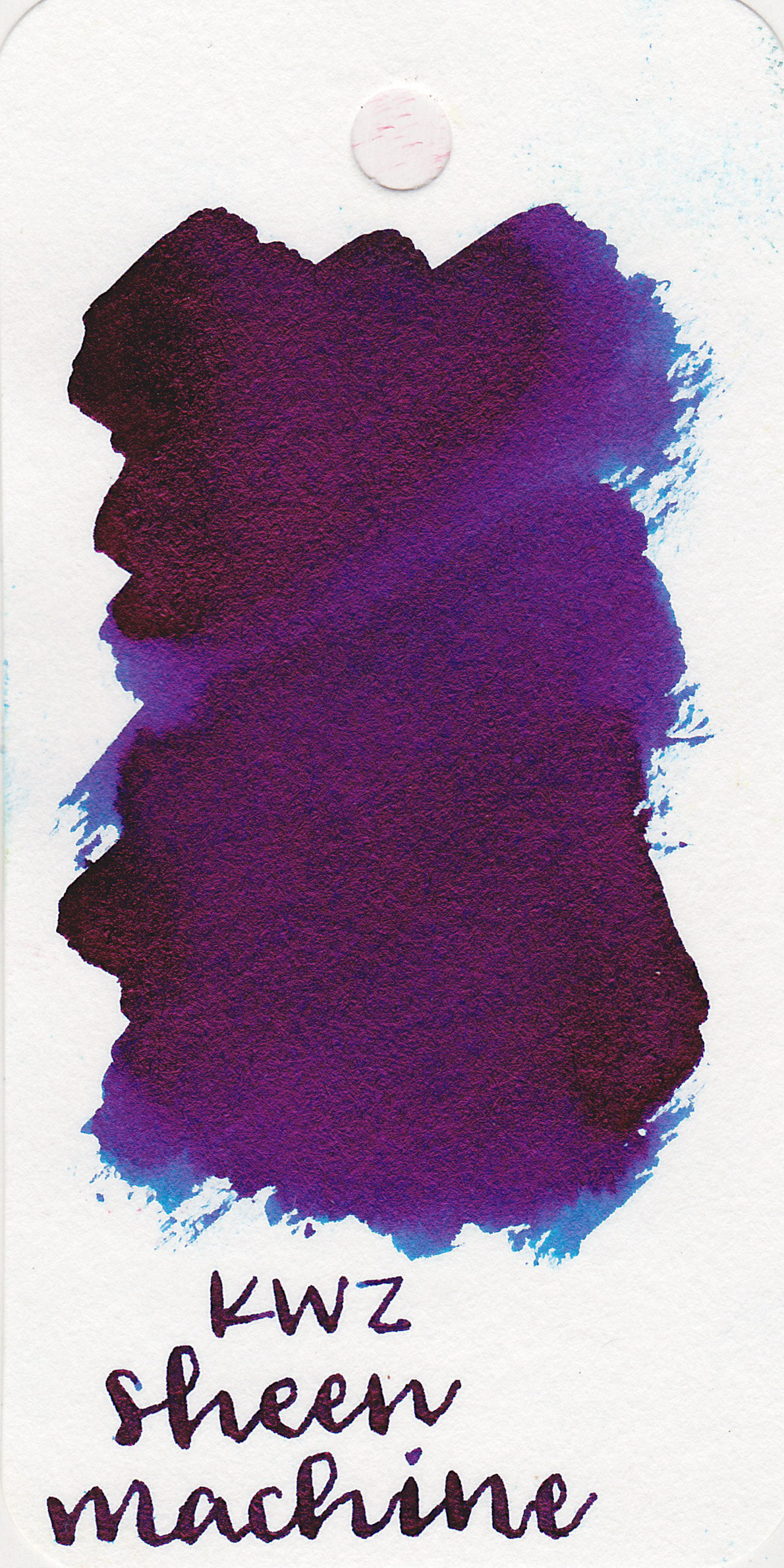 The color: - Sheen Machine is a dark blue with a ton of pink sheen.