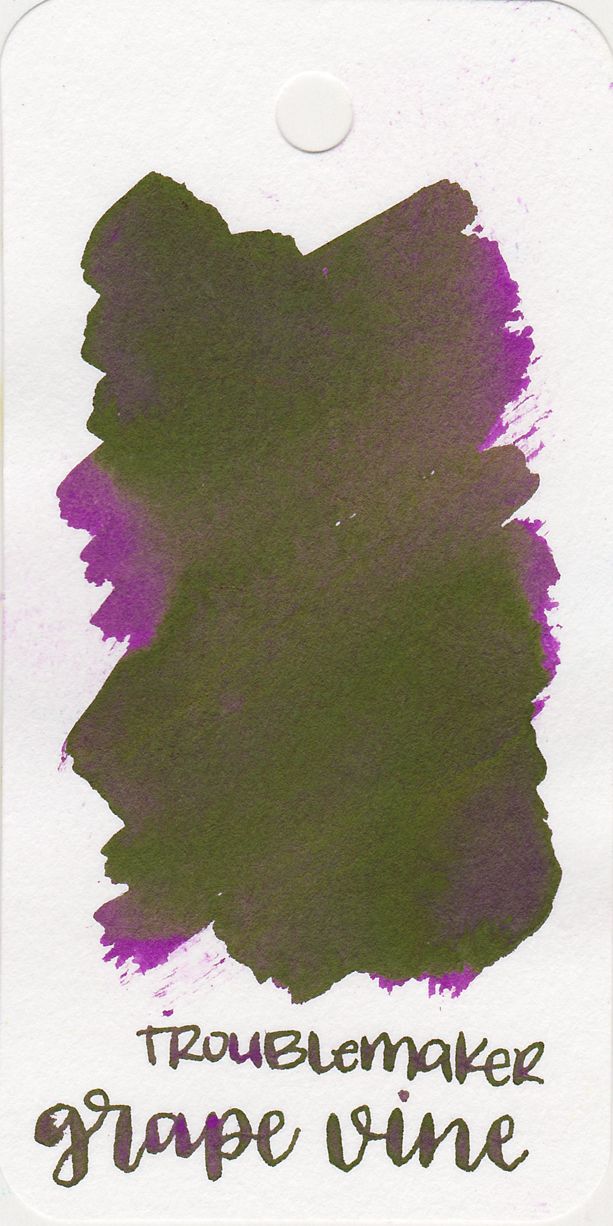 The color: - Grape Vine is a medium magenta-purple with lots of green sheen.