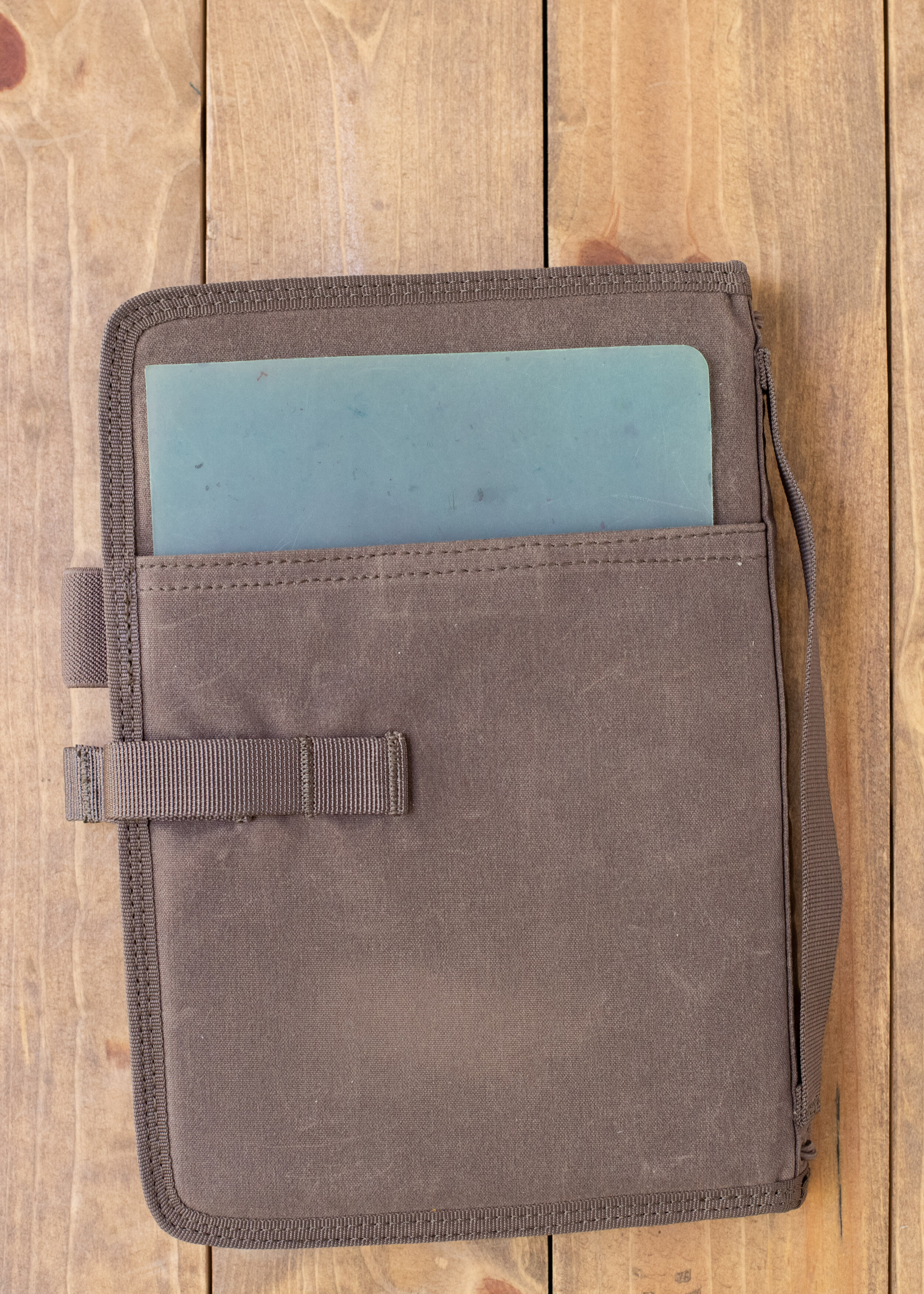 Back Pocket - The cover has a pocket on the back, it currently holds my favorite writing pad from Nanami Paper. When I use a notebook cover I don't use the writing pad under the paper, but under my hand so the paper is protected from my hand oils.