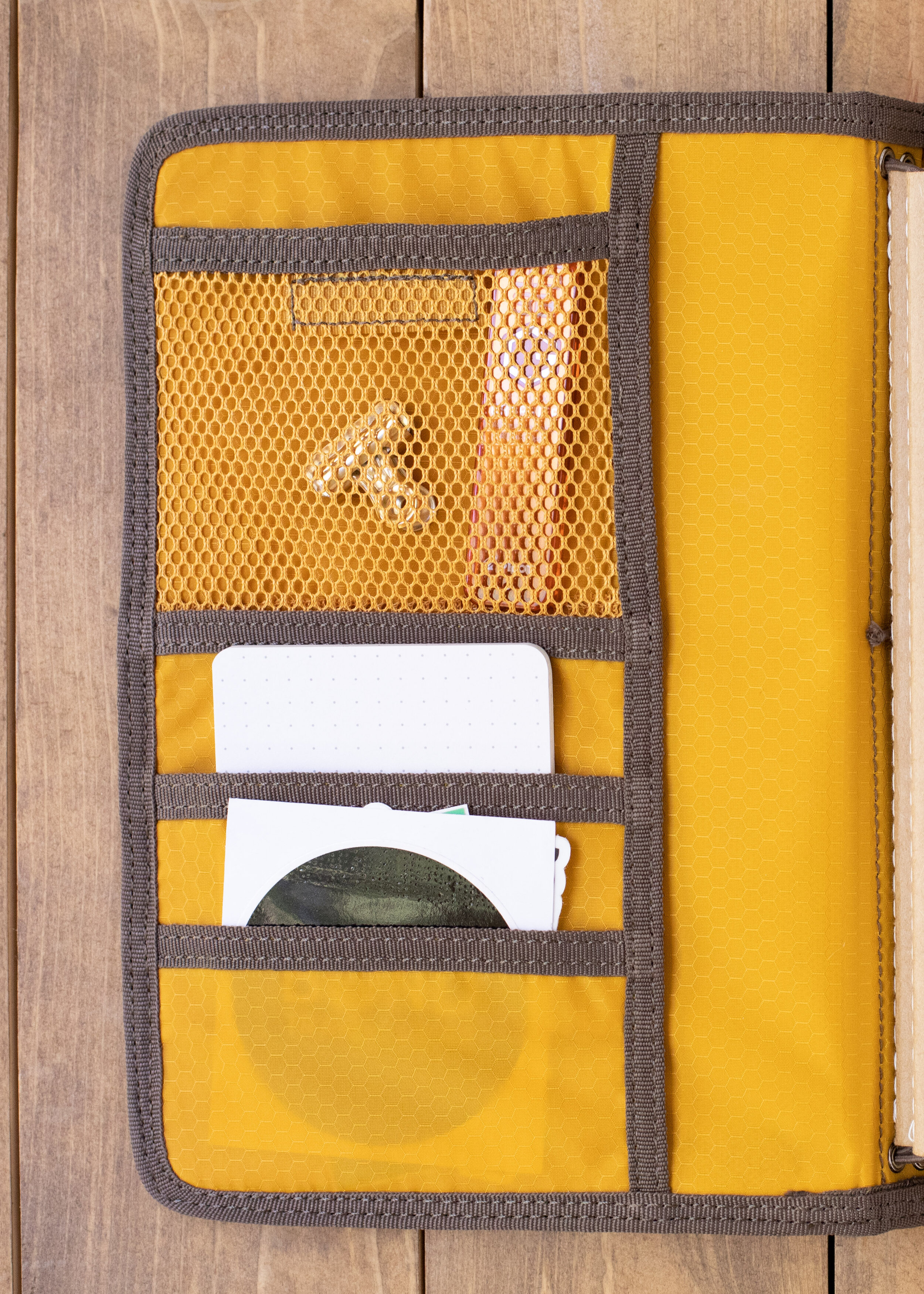 Inside Cover - The inside cover has a mesh pocket on the top with a velcro closure, as well as two other pockets on the bottom. I currently have clips, pencil lead and page flags in my mesh pocket, and post-its and stickers in the bottom pockets.