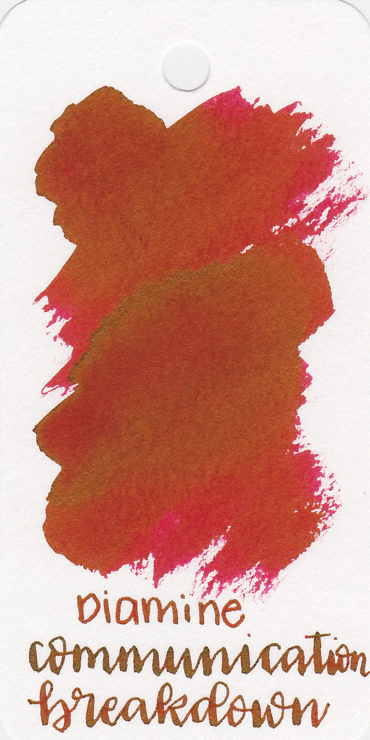 The color: - Communication Breakdown is a vibrant red ink with green sheen.
