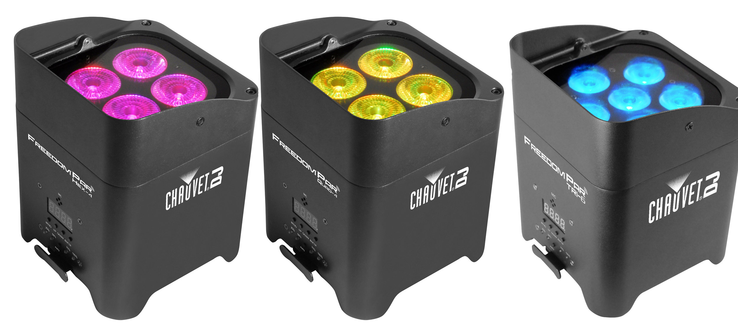 CHAUVET DJ UPLIGHTS - Wireless, battery-powered DJ lights that can be used to set a proper ambiance and tone for any party or event. These lights are equipped with over 15 different unique colors that can put arranged in any creative ways.
