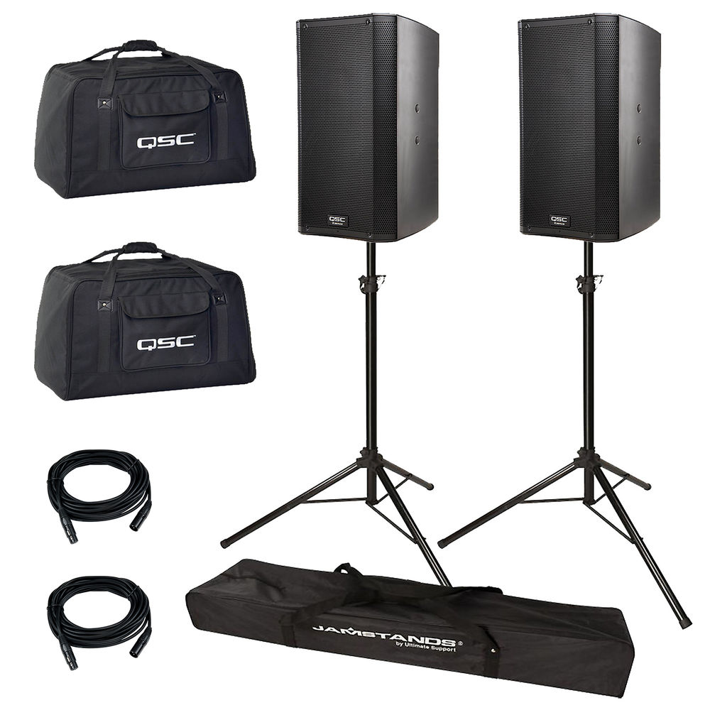 QSC 12 SPEAKERSQSC SPEAKER BAGSSPEAKER STANDS - 2 1000 watt powered PA speakers featuring high quality output for unparalleled performance and professional appearance. High levels of sonic clarity and total output that delivers a rich, full, and clear sound. - Stands allow the speakers to sit higher allowing the music to be played