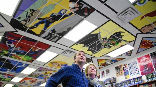 The artist – longtime friend of the store Ken Farnsworth – worked on the ceiling for most of 2014 with his wife, Melinda.