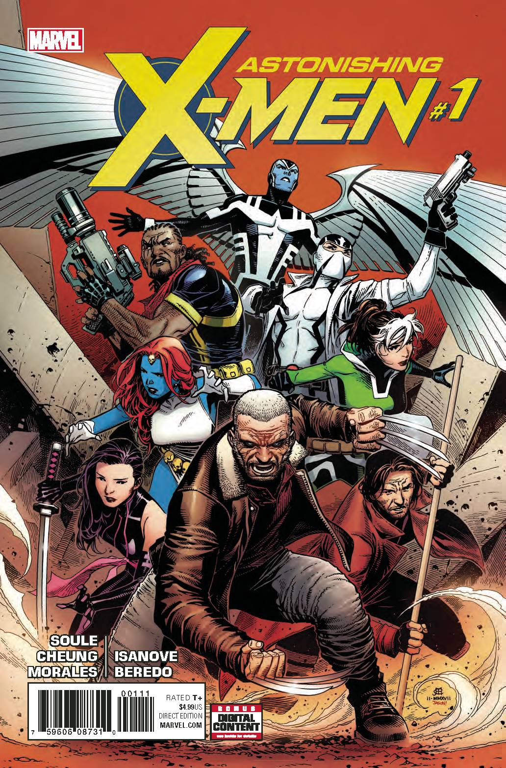 ASTONISHING X-MEN #1 - MARVEL COMICSWritten by Charles SouleArt by Jim CheungONLY THE X-MEN CAN SAVE US!An ancient evil is attacking the world's most powerful minds. It will have them by the time you finish this sentence, and a moment later, it will have us all. A band of X-MEN discovers the truth behind the threat, but there is no time left. PSYLOCKE, OLD MAN LOGAN, BISHOP, ARCHANGEL, FANTOMEX, ROGUE and GAMBIT will attempt to save a world that hates and fears them. Why? BECAUSE THEY ARE THE X-MEN.From blockbuster writer CHARLES SOULE and joined by a roster of superstar artists beginning with JIM CHEUNG. ASTONISHING X-MEN. It's the X-book you need.