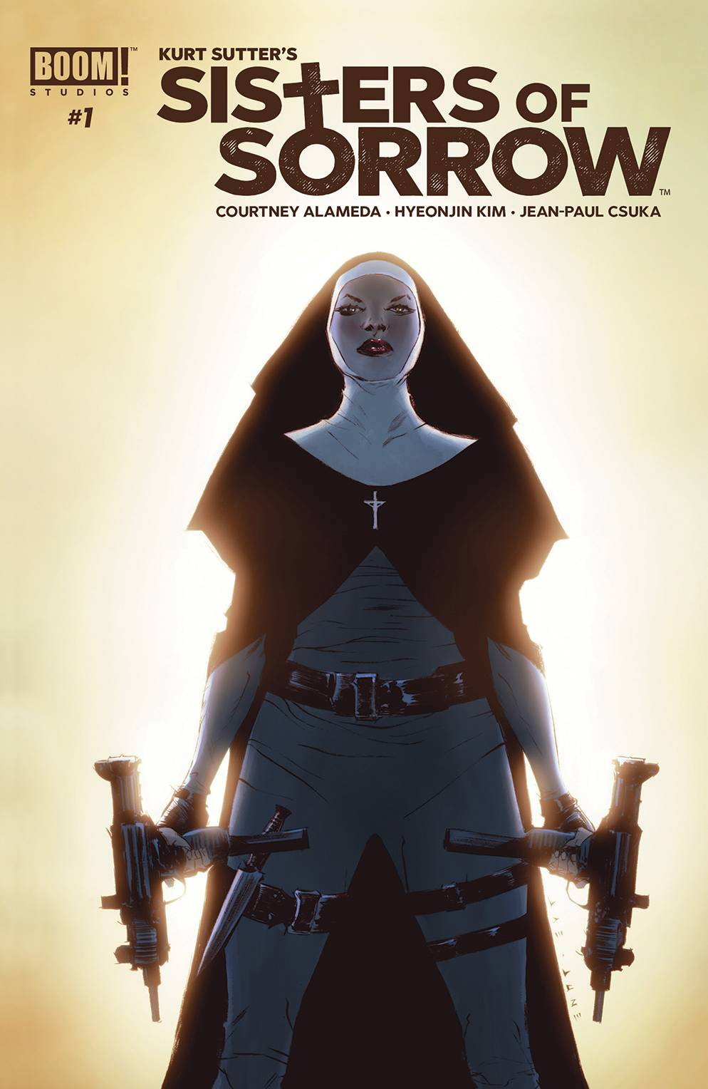 SISTERS OF SORROW #1 (OF 4) - BOOM! STUDIOSWritten by Kurt Sutter, Courtney AlamedaArt by Hyeonjin KimKurt Sutter (Sons of Anarchy, Mayans MC) brings this all-new original tale of revenge and recovery to comics with novelist Courtney Alameda (Shutter) and breakthrough artist Hyeonjin Kim.By day, Dominique, Greta, Misha, and Sarah run a nonprofit women's shelter. At night, they each don a nun's habit and move through Los Angeles hunting down violent abusers who have escaped justice.Their increasingly public vigilantism has earned them the nickname Sisters of Sorrow, and has drawn the ire of L.A.'s notorious anti-crime task force.