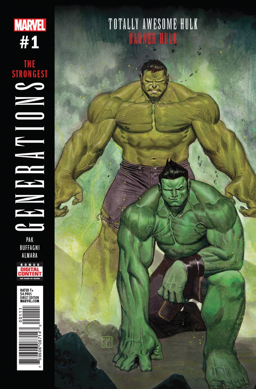 GENERATIONS BANNER HULK & TOTALLY AWESOME HULK #1 - MARVEL COMICSWritten by Greg PakArt by Matteo Buffagni• BRUCE BANNER. AMADEUS CHO. Both have carried the curse of the Hulk. Now they come face-to-face at last - but will they meet as friends or foes?• Fan-favorite Hulk scribe GREG PAK is joined by red-hot artist MATTEO BUFFAGNI (X-MEN BLUE) for a time-bending tale that will finally answer the question on everyone's minds: WHO IS THE STRONGEST ONE THERE IS?
