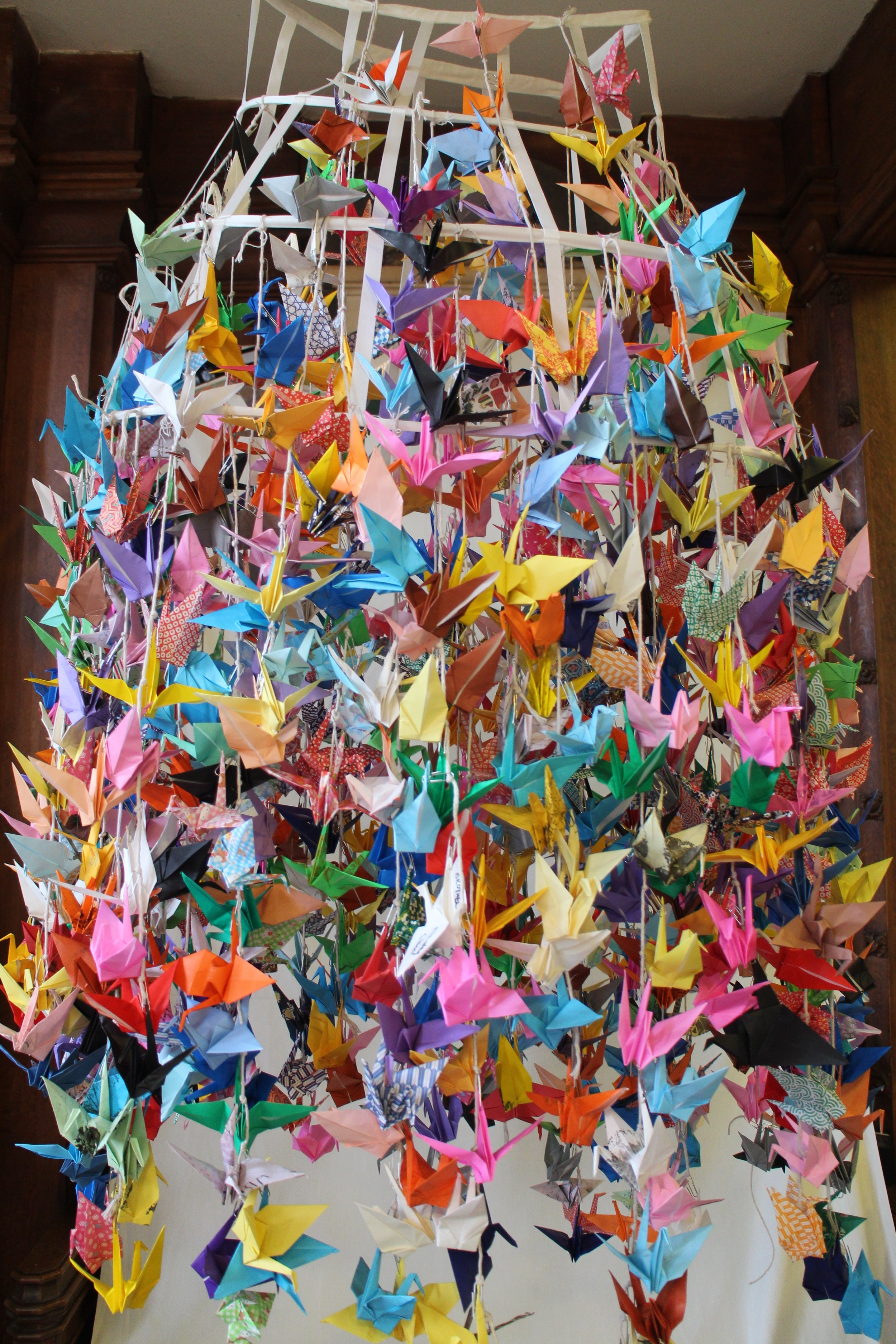 1000 cranes made by the public at St. Mary's church. All folded with wishes for 2017  hear the wishes here: https://youtu.be/sGcY2Zd3vys