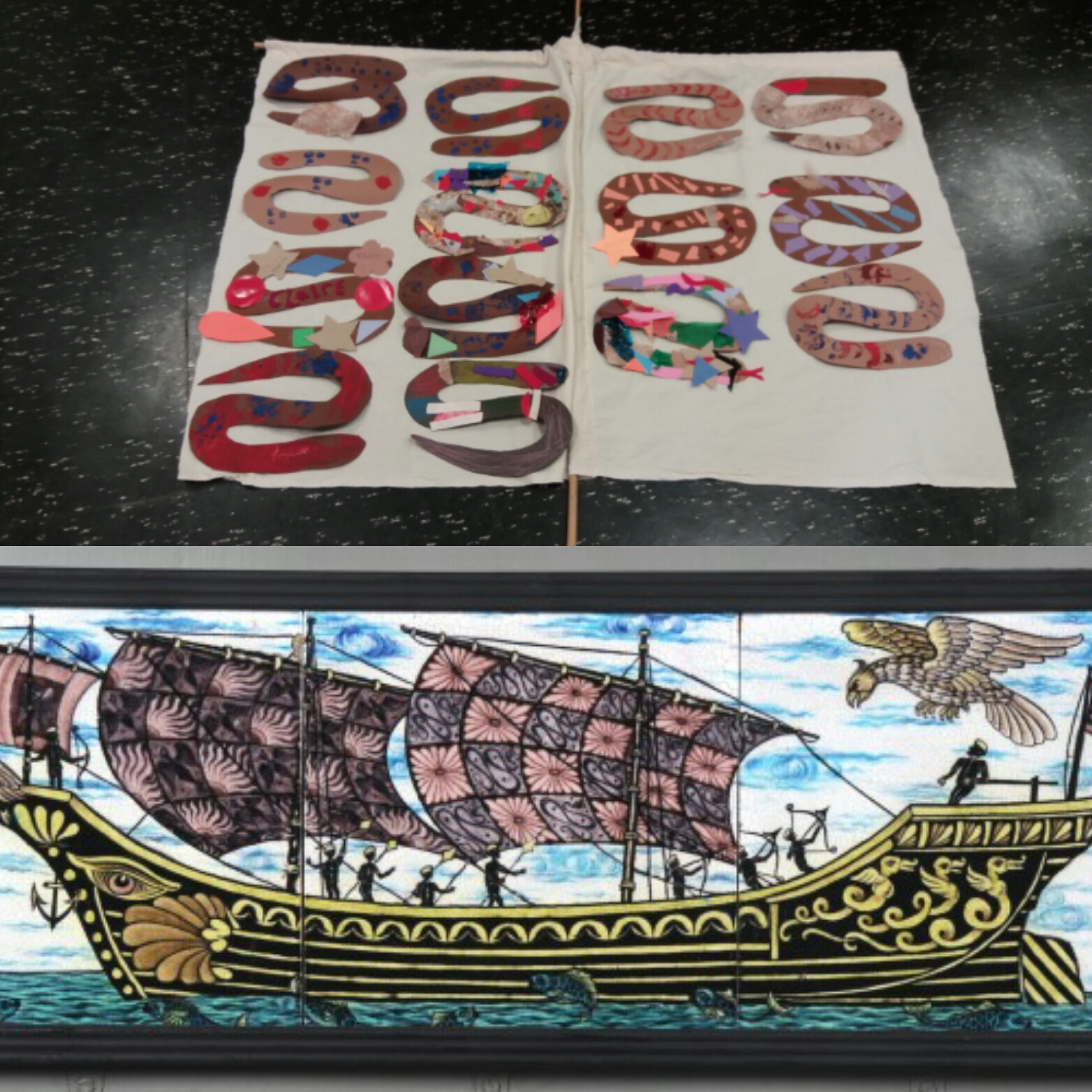 Sinbad the Sailor's sail - A seafaring session of the 5th voyage of Sinbad and the flying Roc. William de Morgan Triptych tile of the galleon ship as inspiration