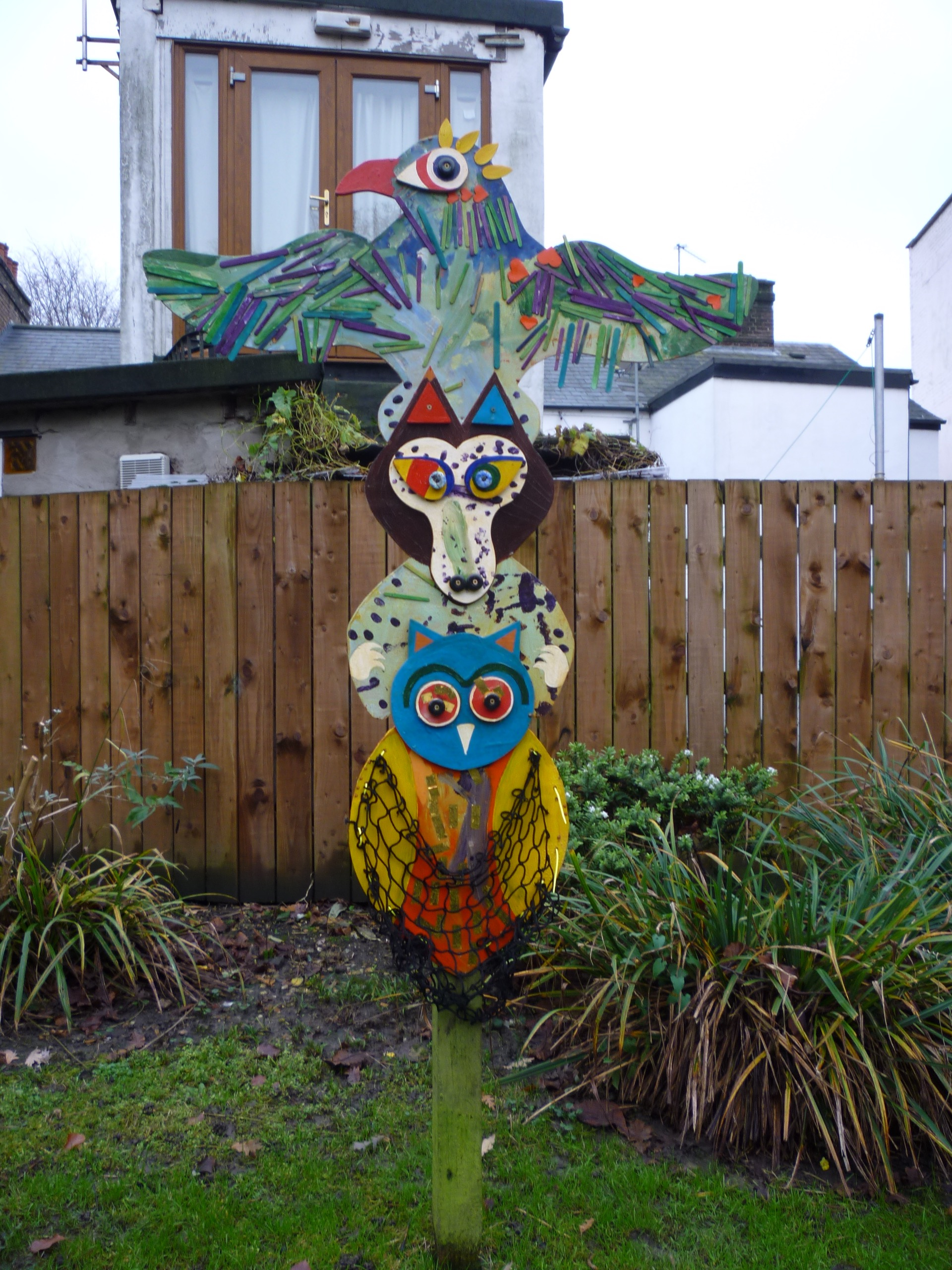 Out door totem poles at Church Hill Nursery