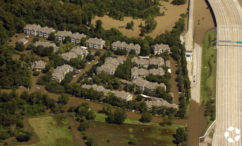 CoStar Research aerial footage of same site on Sept. 8 after flooding from Harvey.