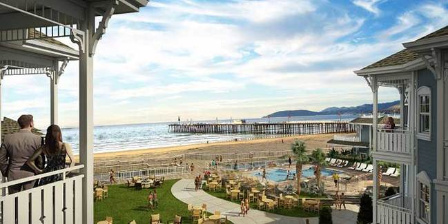 The 12-room luxury hotel known as Vespera on Ocean (pictured) in Central California's Pismo Beach is one of a number of beach resorts being built in smaller coastal communities across the U.S. as visitors seek more affordable getaways.  Image courtesy of Nexus Development.