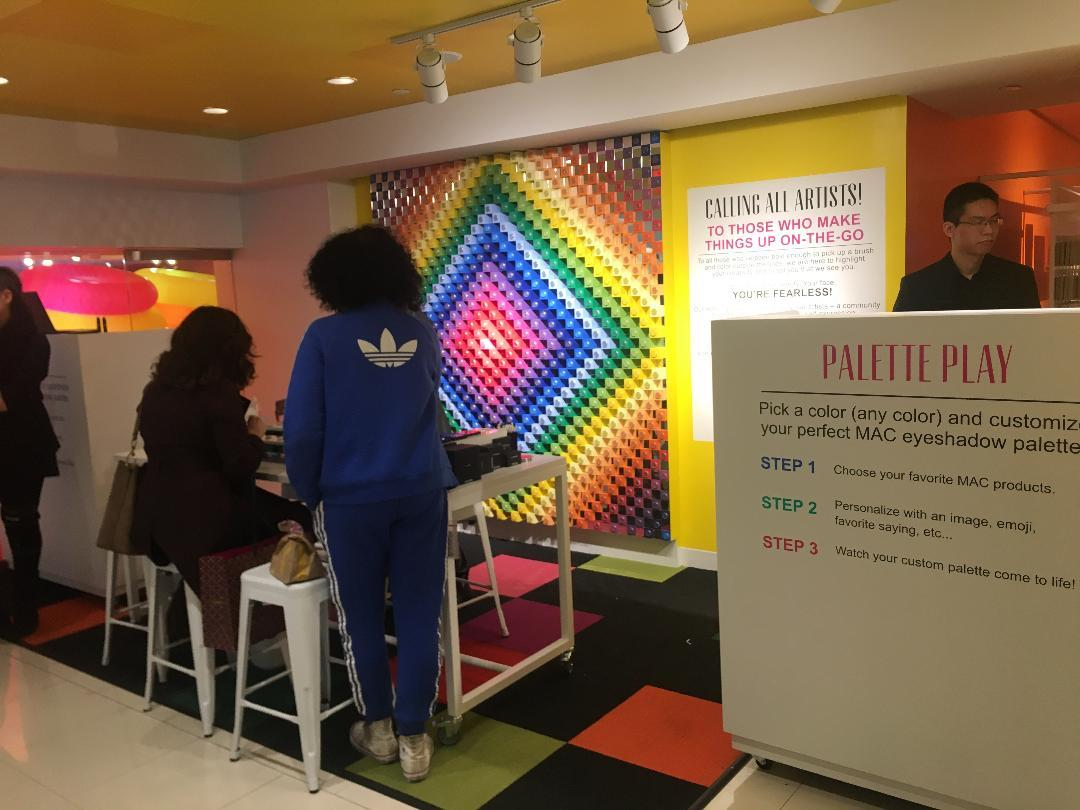 Shoppers can create their own Mac makeup palette at 30 STORY locations, including this one at the Herald Square Macy's. Photo: Diana Bell for CoStar