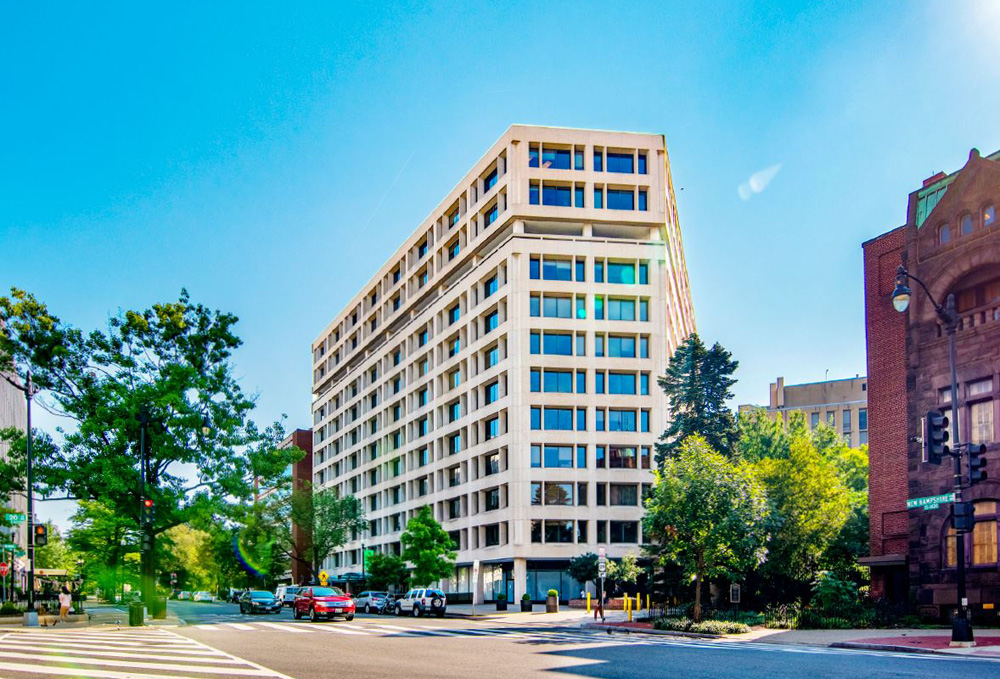 WeWork and The Meridian Group bought 1333 New Hampshire Ave. in Washington, D.C., in November 2018 for $136.5 million. Photo: CoStar