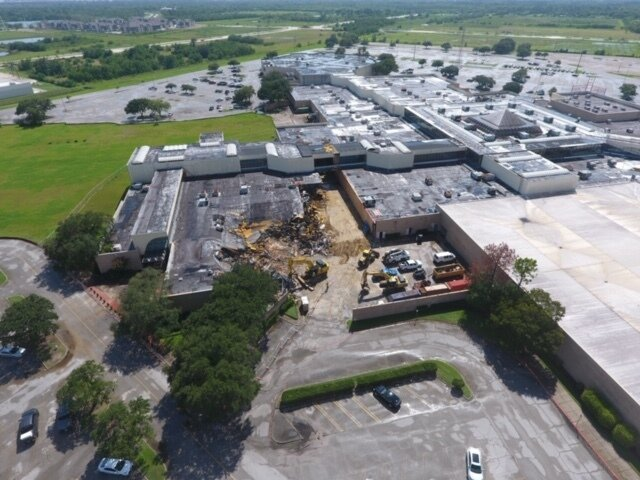 An aerial image of the partially demolished San Jacinto Mall in Baytown, Texas. (Fidelis Realty Partners)