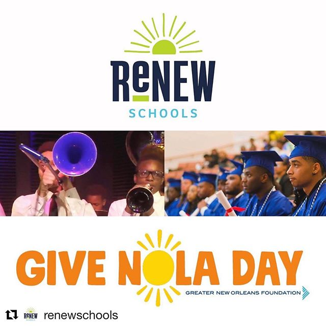 ・・・ #GiveNOLA Day is here! Help us reach our $10,000 fundraising goal with a donation today. Your gift to ReNEW Schools will directly support programs for our students. (**LINK IN BIO**)📚 #renewschools #nola #nolaed  DONATE: https://www.givenola.org/renewschools