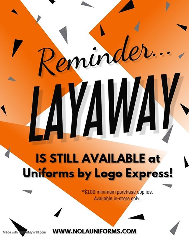 REMINDER...Our school uniforms partner, Uniforms by Logo Express, is offering a free layaway program. Visit one of their three stores to participate now through June 29th. #renewschools #nolaed #nola