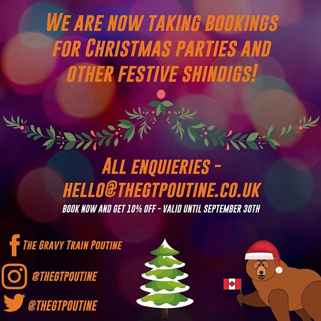IT'S CHHRRRIIISSSSTTTMAAASSSSS!  We'll not quite...  It's never too early to get into the festive spirit, why not get your plan sorted earlier this year rather than running around like a headless chicken like last year... yeah that's right, we're talking to you 😯🎄  All enquiries - hello@thegtpoutine.co.uk  Book before September 30th and get 10% off📆⏰  ✌🏼❤️🎁🎄
