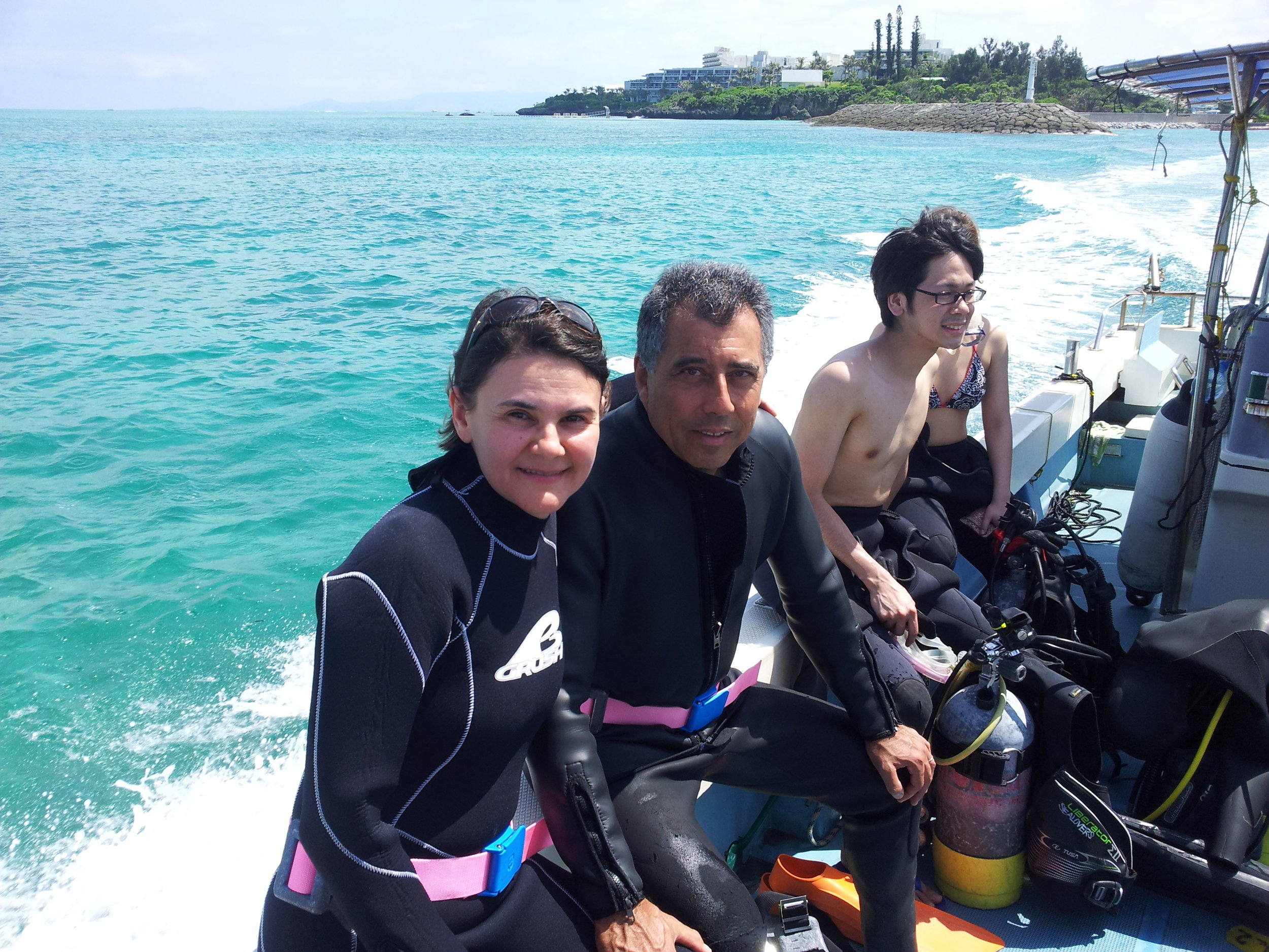Clenia and Marcio on their way to a day of scuba diving in the Japanese Caribbean.