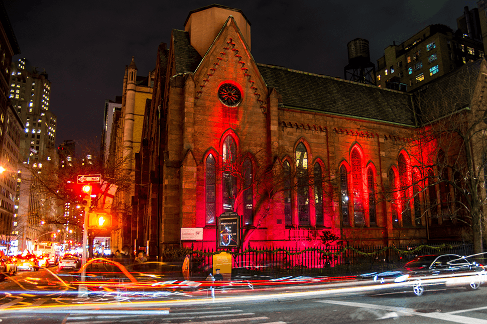 Calvary-St. George's is the first and only church in all of the United States to join the Red Wednesday Campaign. - Our hope is to bring awareness of the persecution of Christians. Our church will stay lit until Sunday, December 2, 2018.