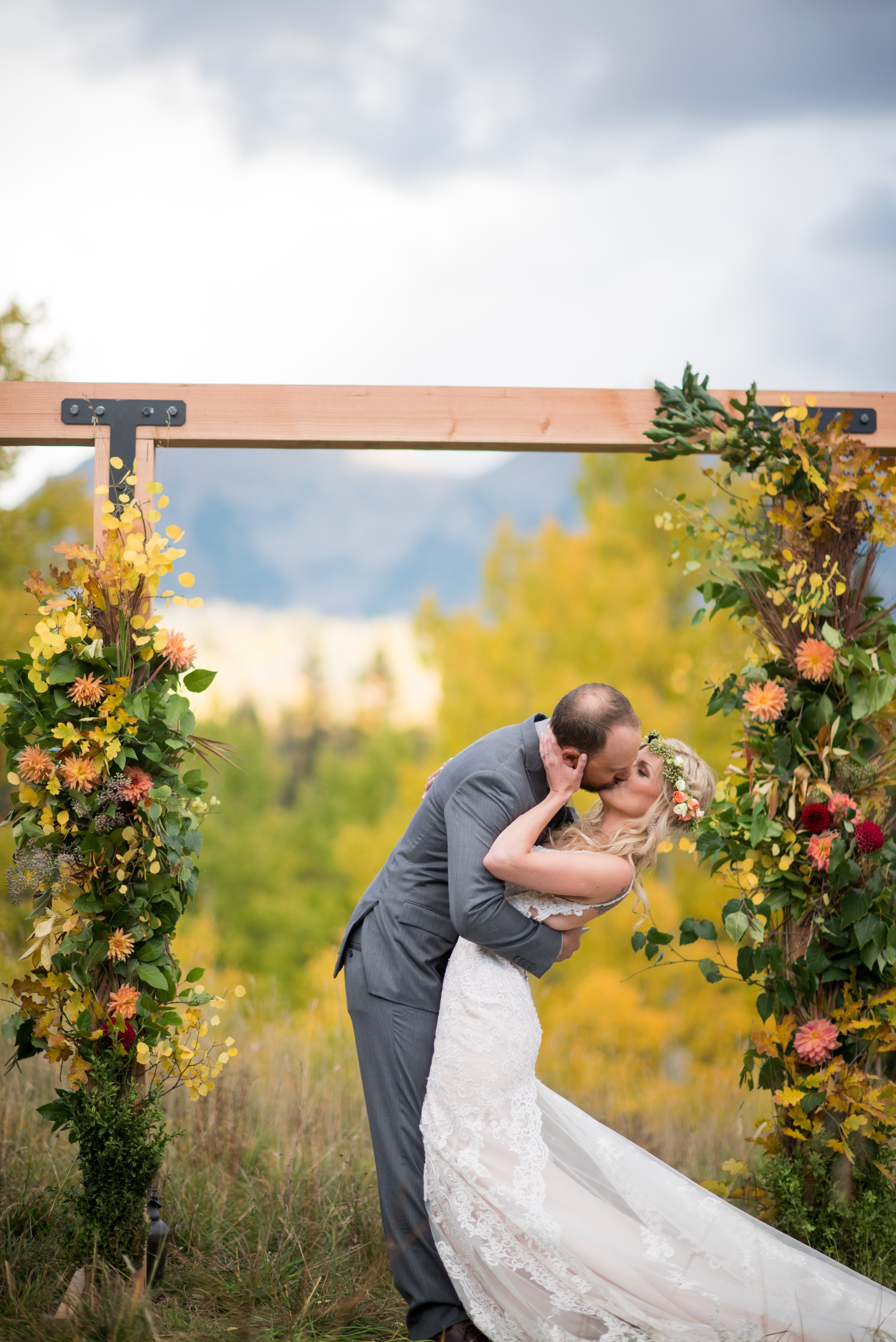 fall wedding arch in Colorado