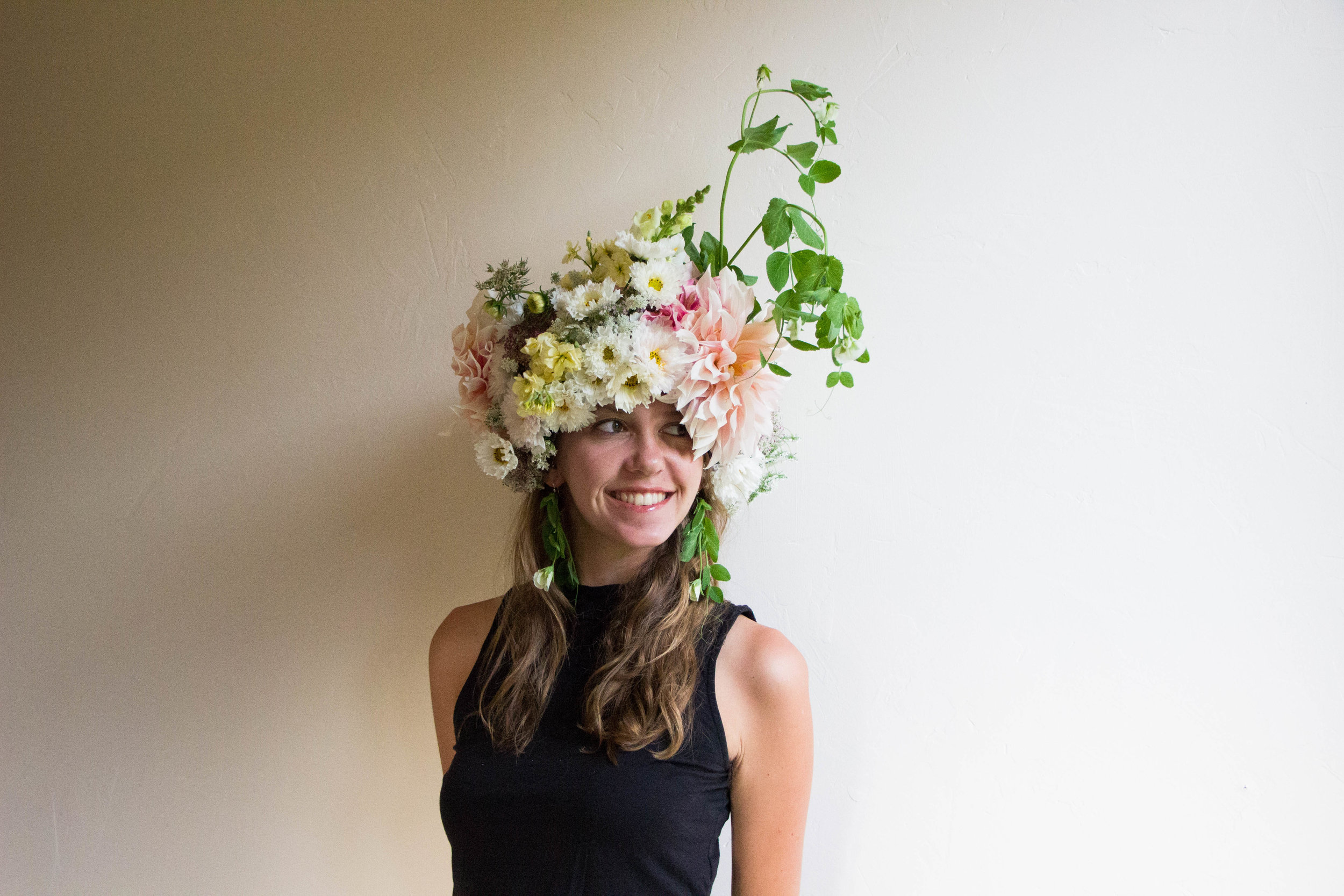 Flower hat and earings, botanical couture, sweet peas, dahlias, snap dragons, pink white and yellow