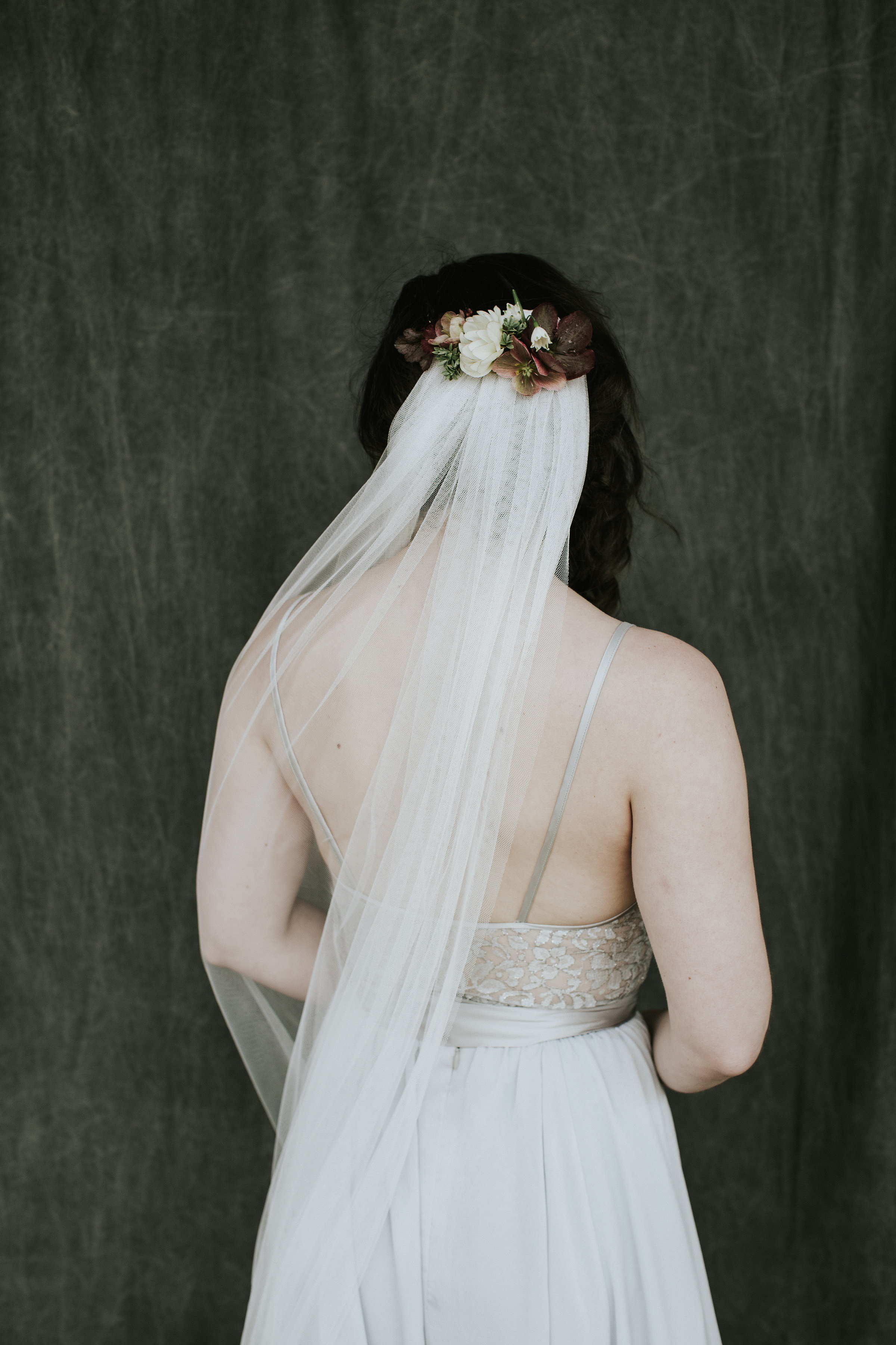 Flowers on bridal veil