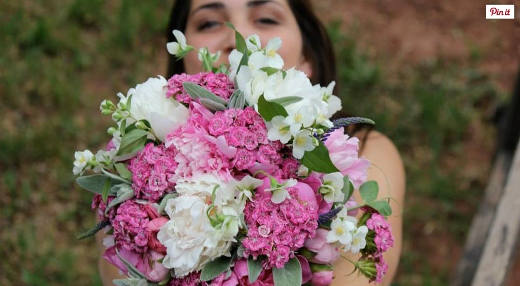 pink and white spring bouquet with peonies and dianthus, lovely wedding bouquet
