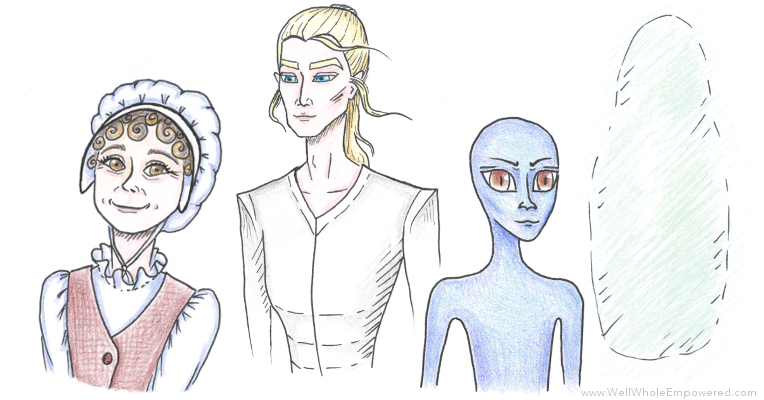 (My sketches of some of the characters that have come through in Spirit Guide readings)