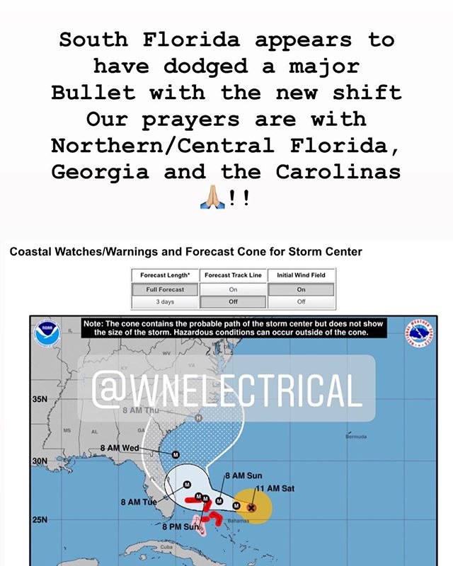 Looks like South Florida dodged a major bullet with the shift. Please keep your preparations in effect until the Hurricane has cleared your area due to the unlikely chance it changes course. Our thought and prayers are with Central, Northern Florida, Georgia, and the Carolinas. . . #hurricanedorian #hurricaneseason #generators #backupgenerator #wnelectrical #electrician #southflorida #miami #coralgables #pinecrest #prepareforthestorm #letshelpeachother #electriciansonstandby #werethebest #hurricanecleanup #powerrestoration #tropicalstormdorian #dorian #florida #electrician #electricalengineering #werethebest #hurricanecleanup #helpyourneighbors  @wnelectrical @willynodal