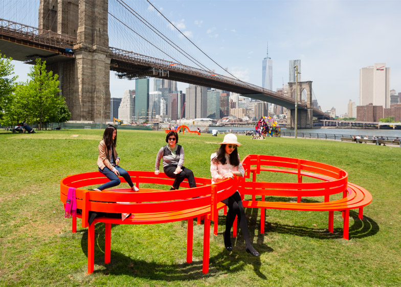 Sixteen distinct versions of artist Jeppe Hein's   Modified Social Benches   were exhibited in Brooklyn Bridge Park between May 17, 2015 – Mar 20, 2016. These functional sculptures reinvented the park bench to create unexpected social connections and spontaneous encounters. Photos by James Ewing.