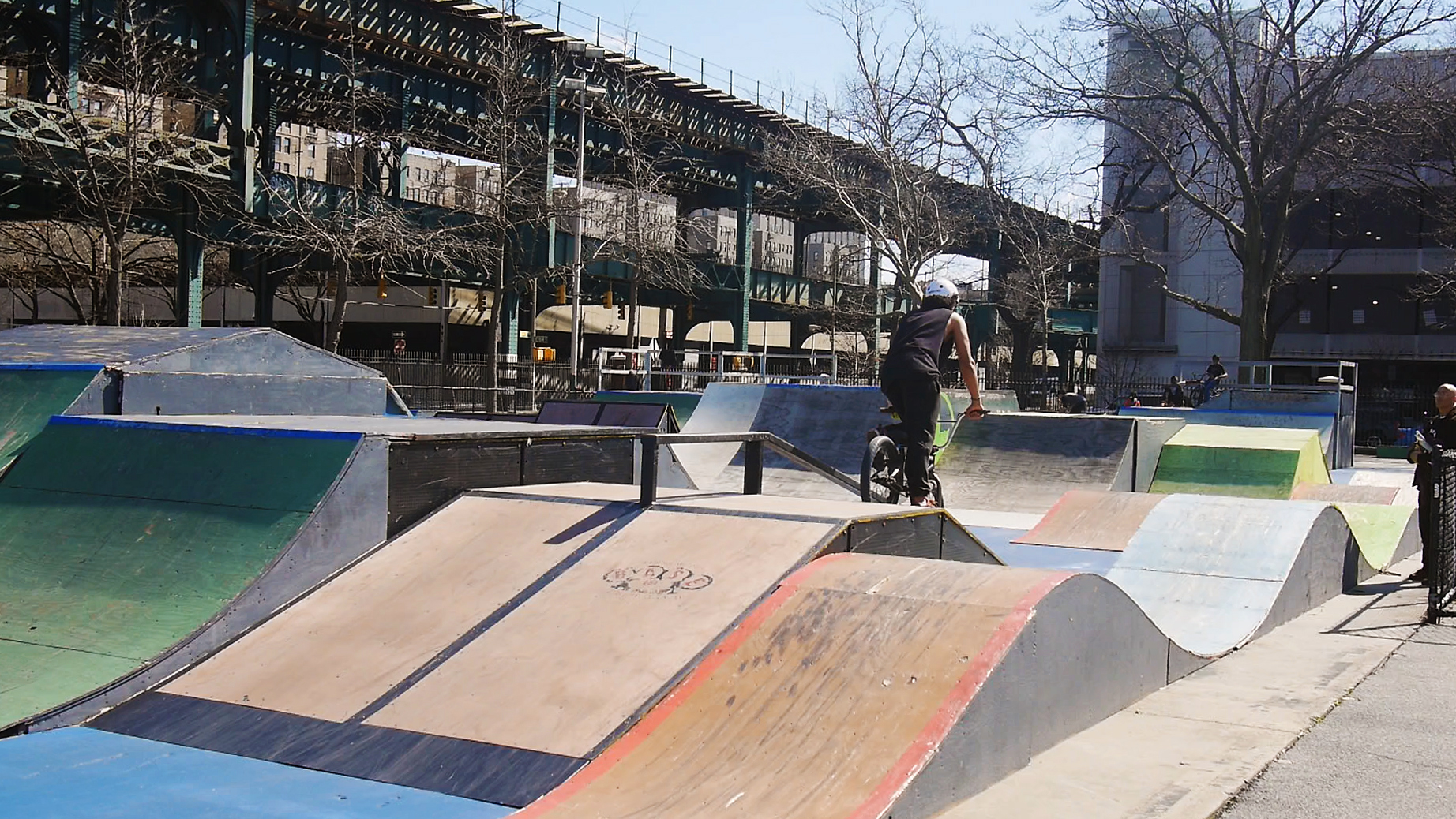 "Mullaly Bikepark  is just blocks from where Yes Loitering would meet. It started as a makeshift bikepark in 1988, but now is supported and maintained by a user-run non-profit organization. The mission of the park is ""to provide a safe space for the youth to be active and creative."" The park is free and helmets are available for free. Photo by Chat Travieso"