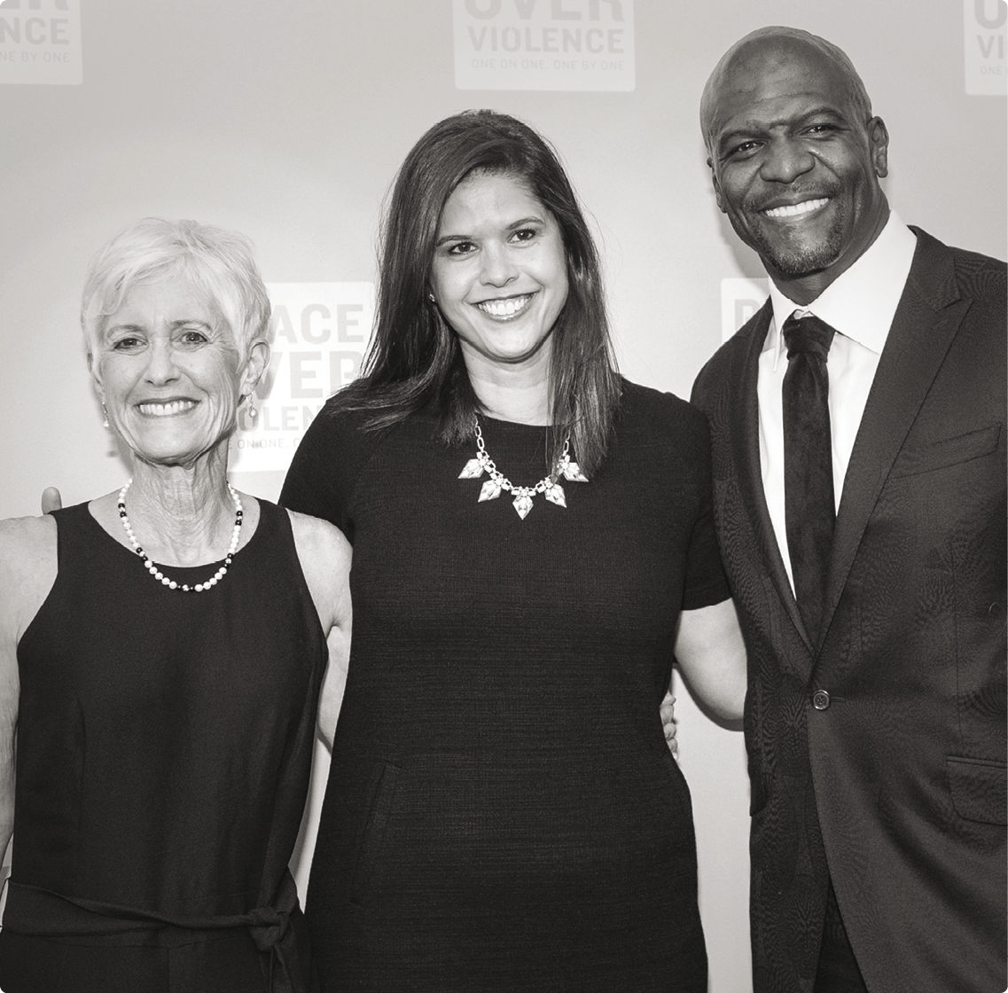 """An Evening Over Violence"" honorees Cathy Friedman, ESPN's Alison Overholdt and Terry Crews at The NoMad Los Angeles."