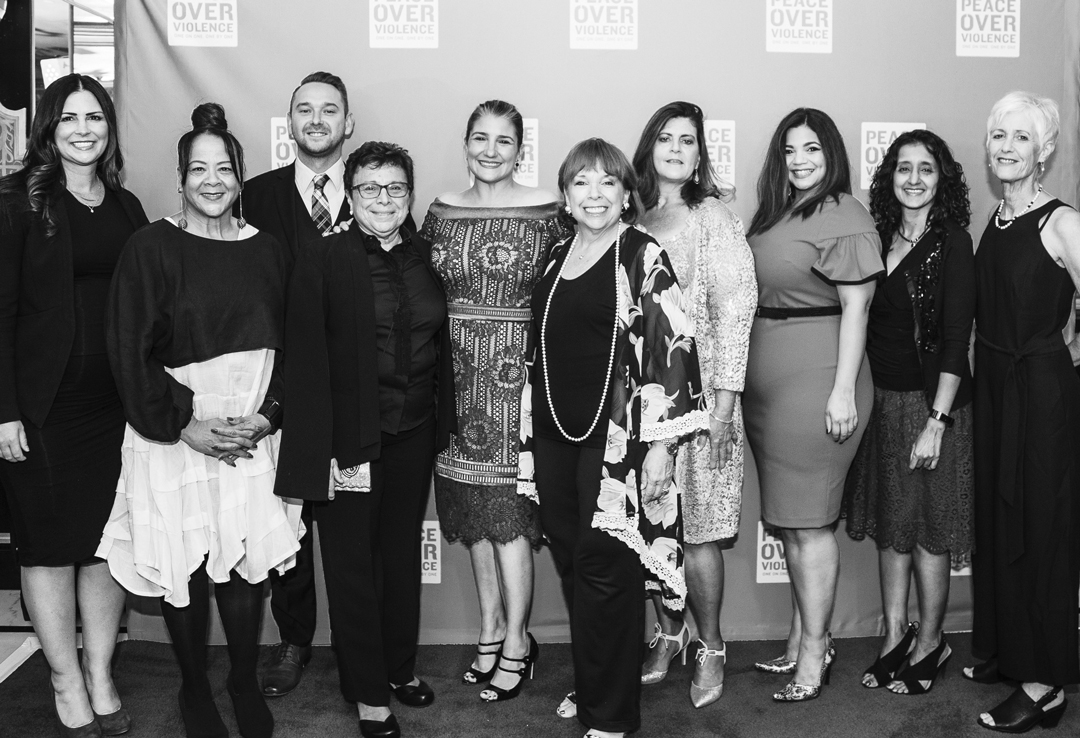 The Peace Over Violence Board of Directors: Brianne Palmer, Char Bland, Stan Gorbunov, Executive Director Patti Giggans, President Christina Mauro, Linda Ruffer, Dawn Bey, Yasmin Dunn, tRochelle Witharana and Associate Director Cathy Friedman at An Evening Over Violence.