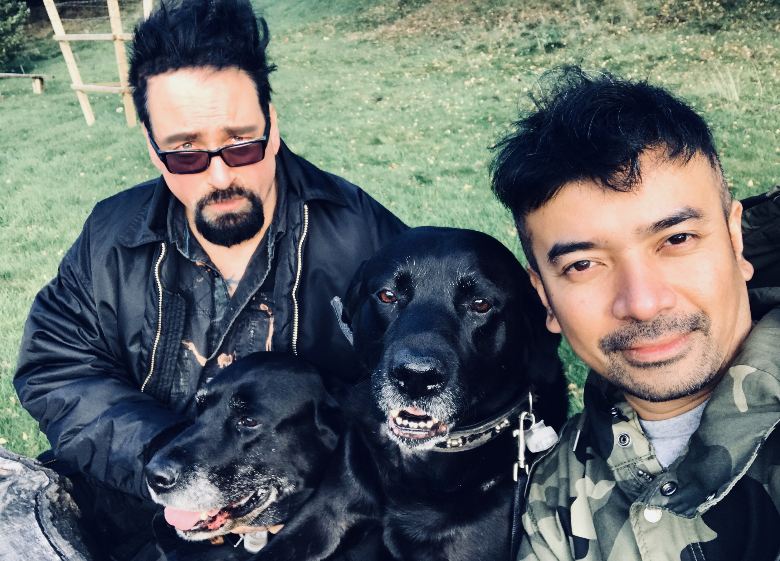 VIN + OMI with their dogs Drake + Odin