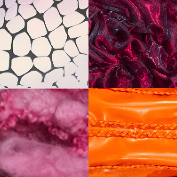 Textiles clockwise from top left: Amalgam, rPET, latex, no kill fleece