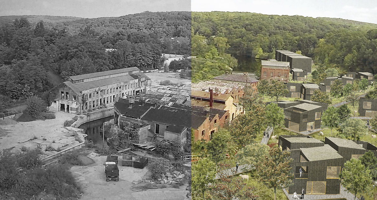 From decay to renewal -a visualization showing a before/after of the Connecticut brownfield. image courtesy TILL